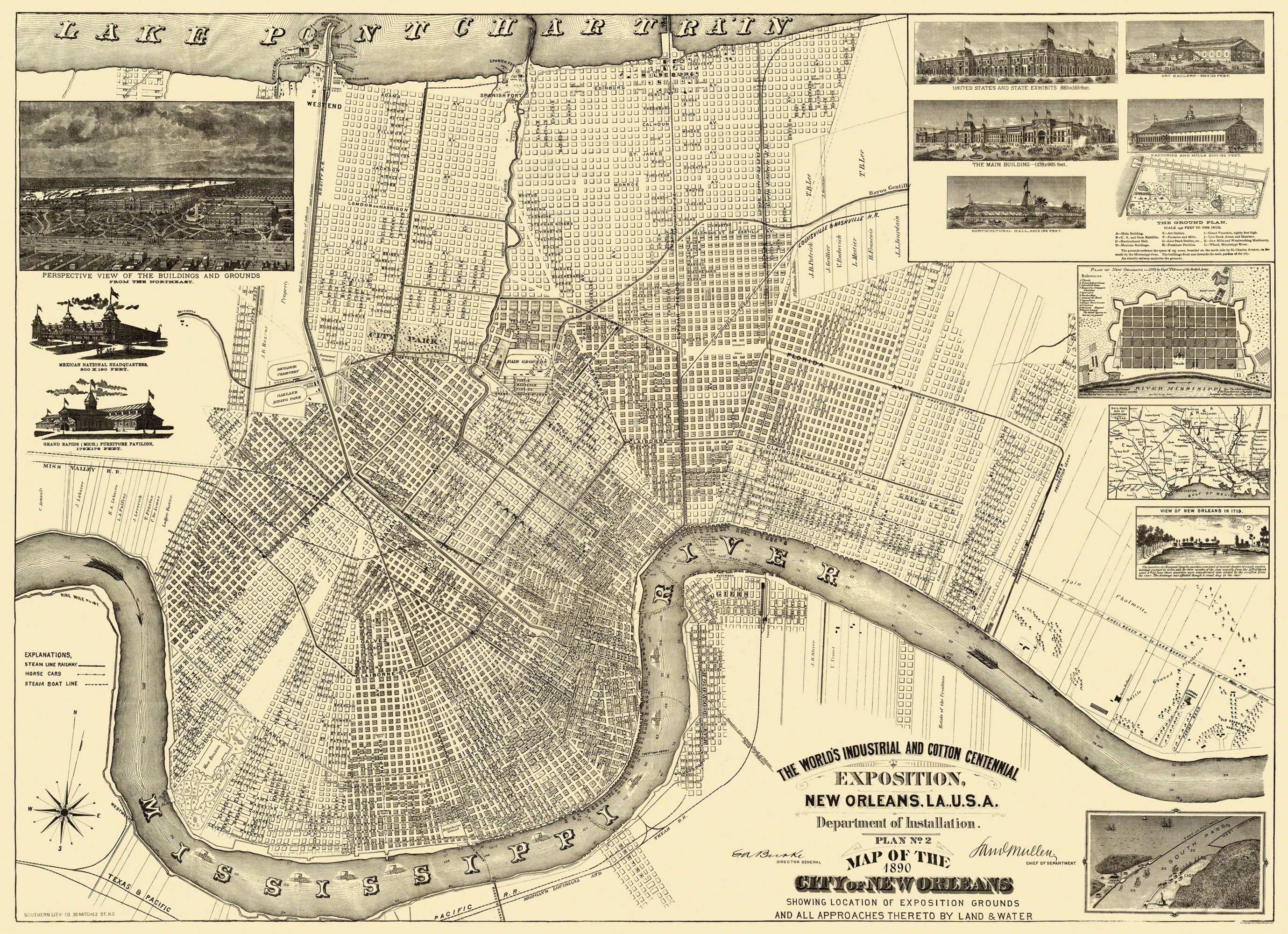 Antique New Orleans Map.New Orleans Louisiana Expositiion Burke 1890 31 69 X 23