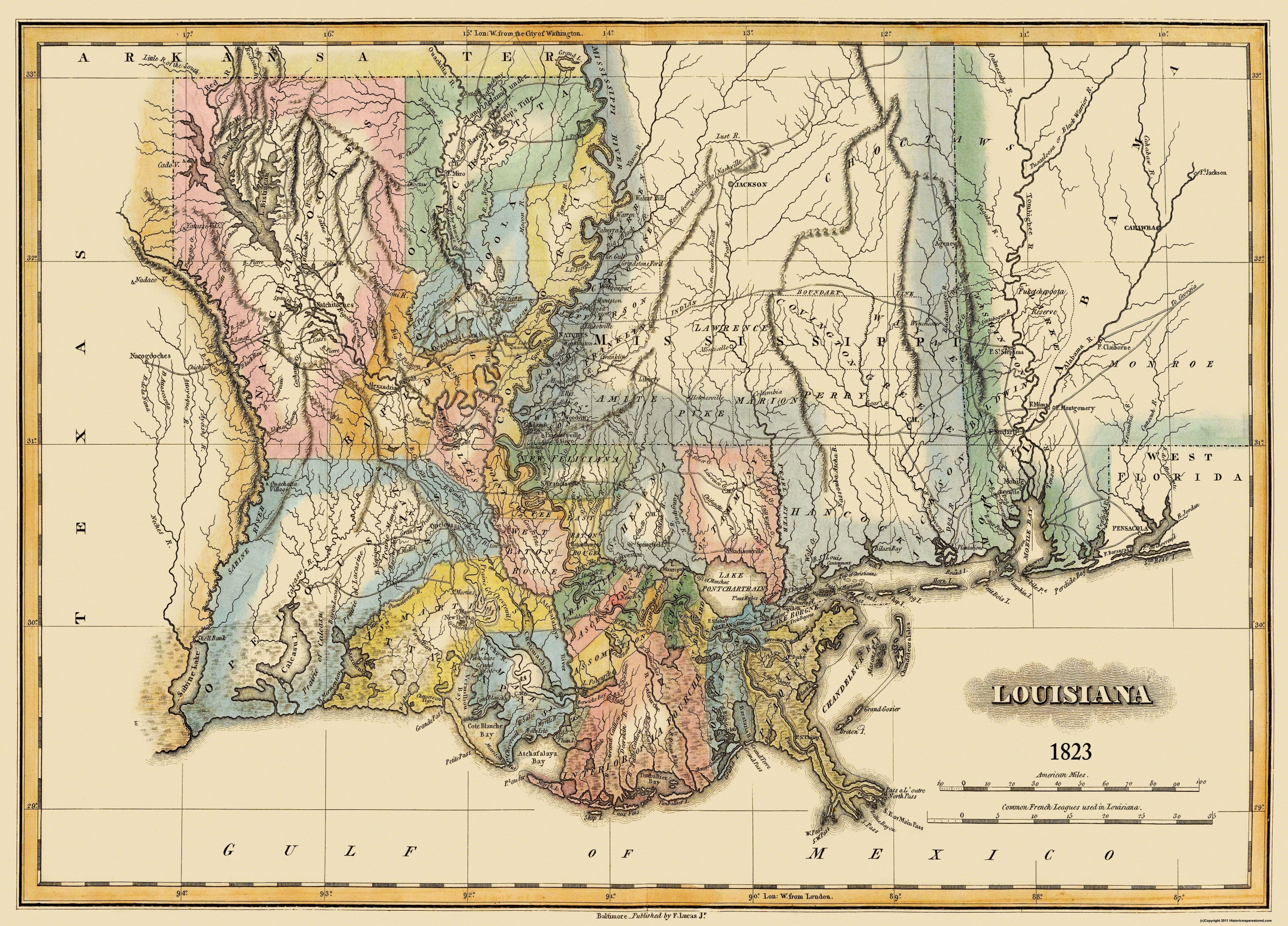 Old State Map Louisiana Lucas - 1823 us map