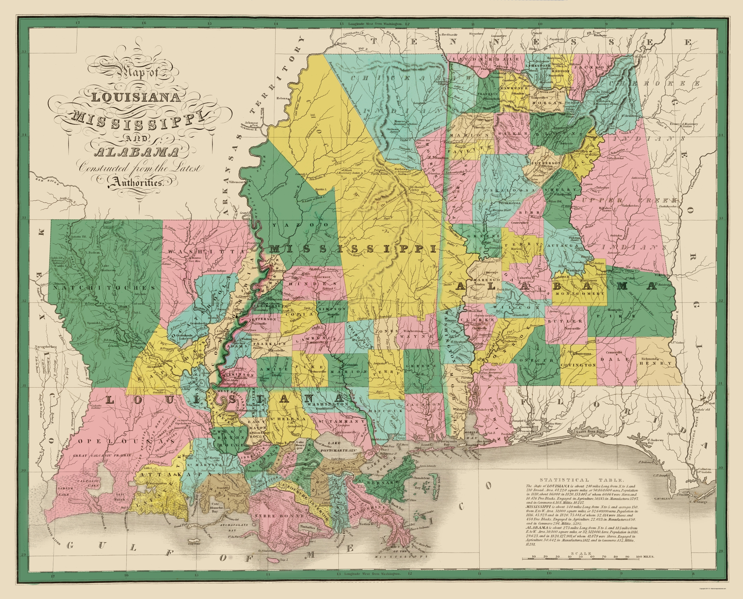 old state map louisiana mississippi alabama 1827