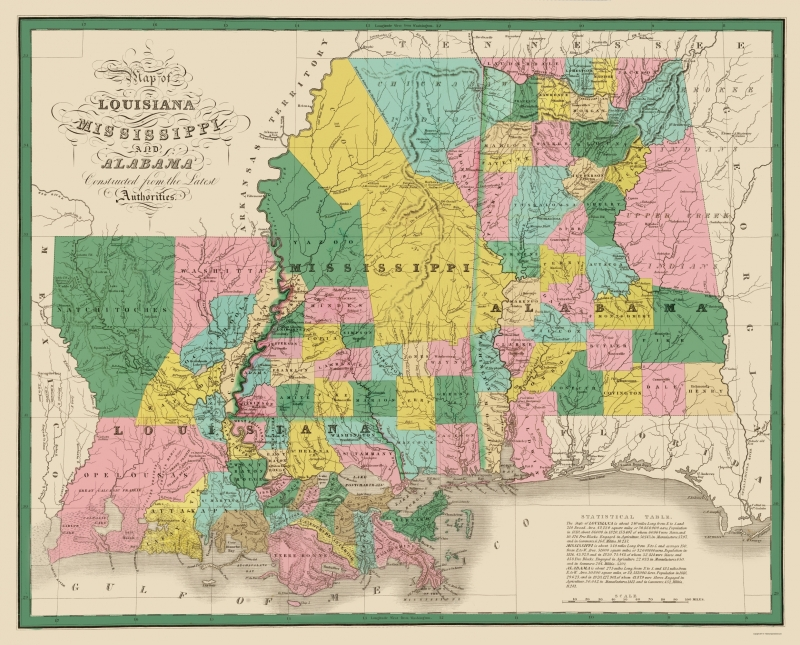 Old State Map - Louisiana, Mississippi, Alabama - Finley 1827 - 23 x 28.54