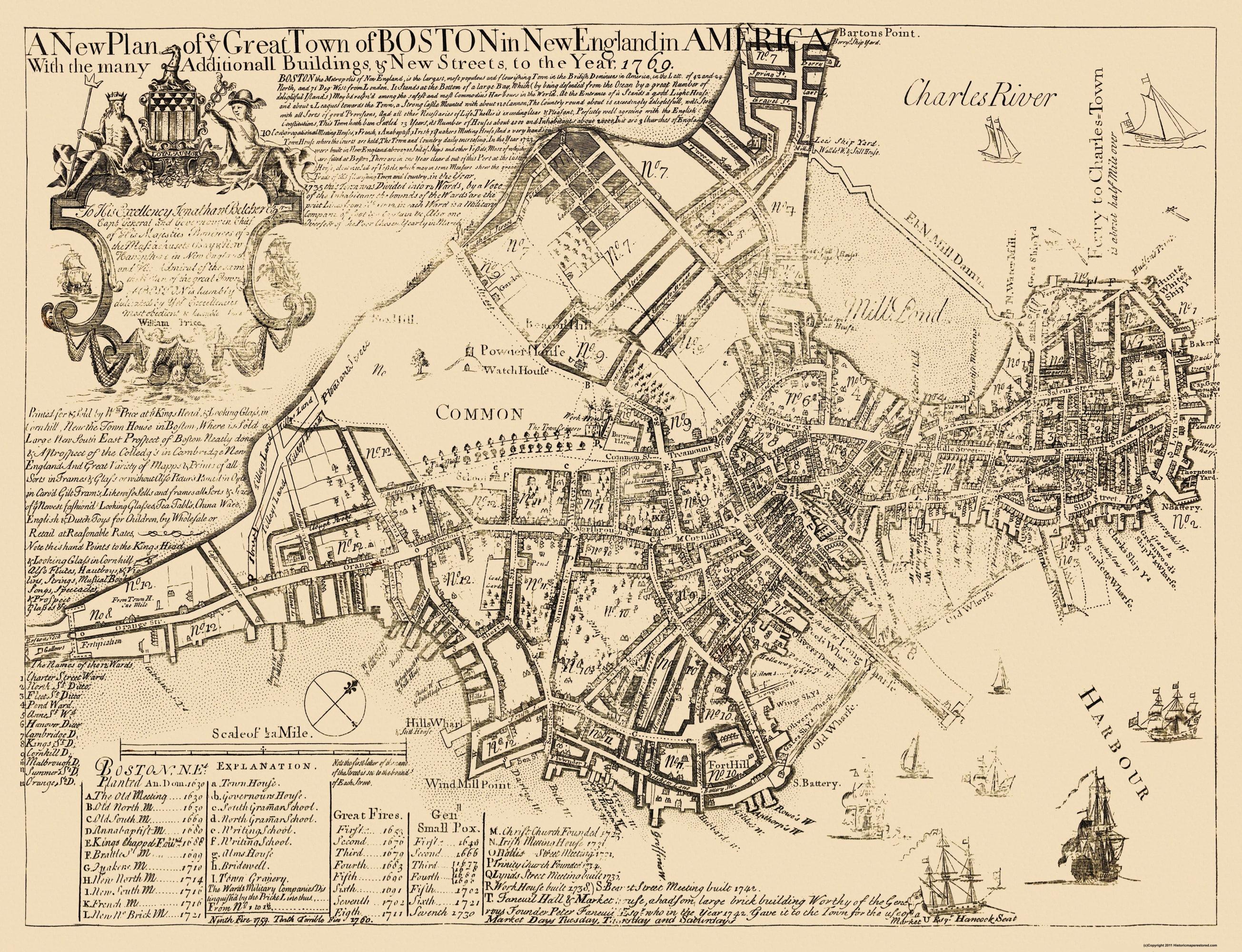 old maps of boston Old City Map Boston Massachusetts 1769 old maps of boston