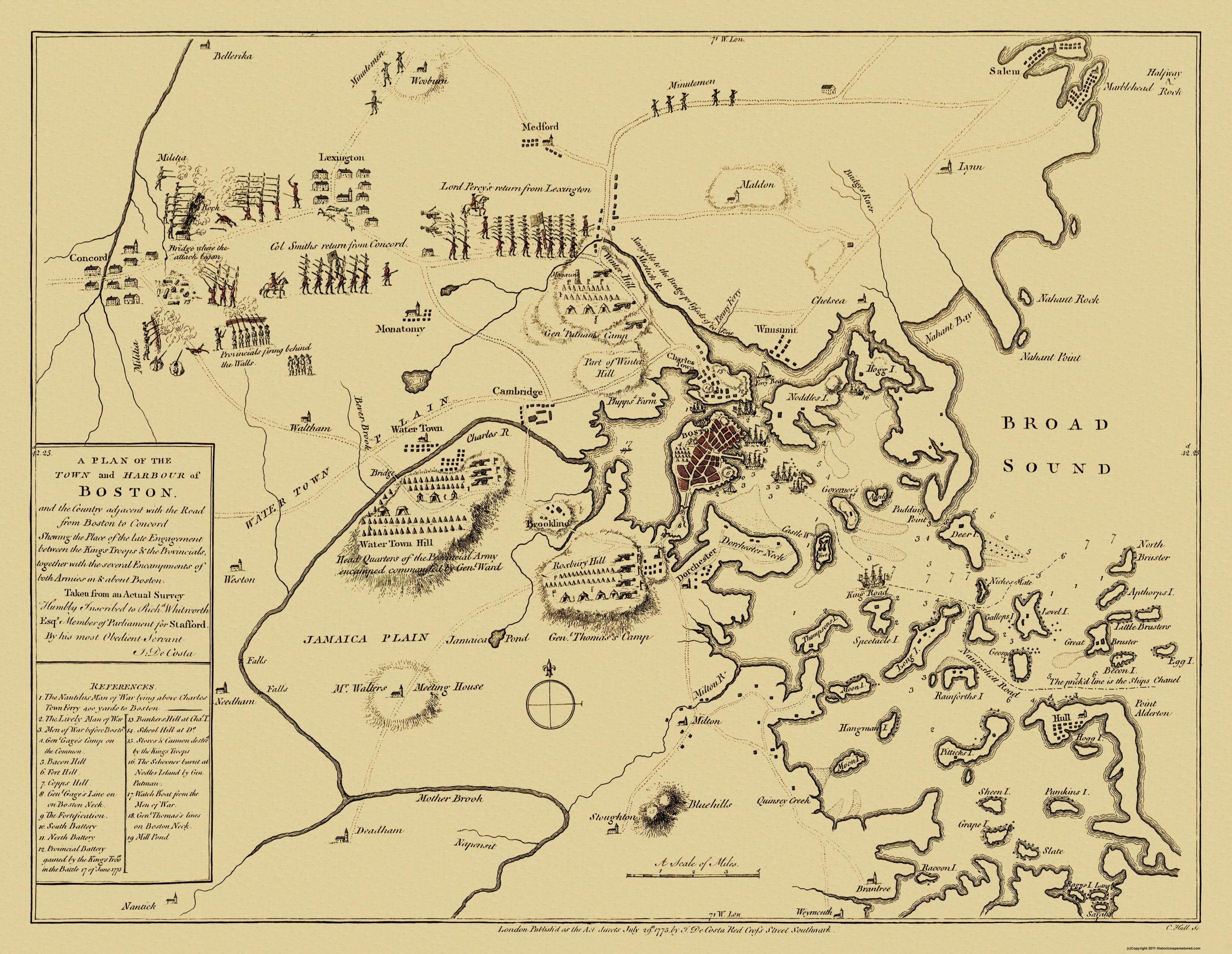 Old City Map - Boston Machusetts - 1775  Map Of Boston on