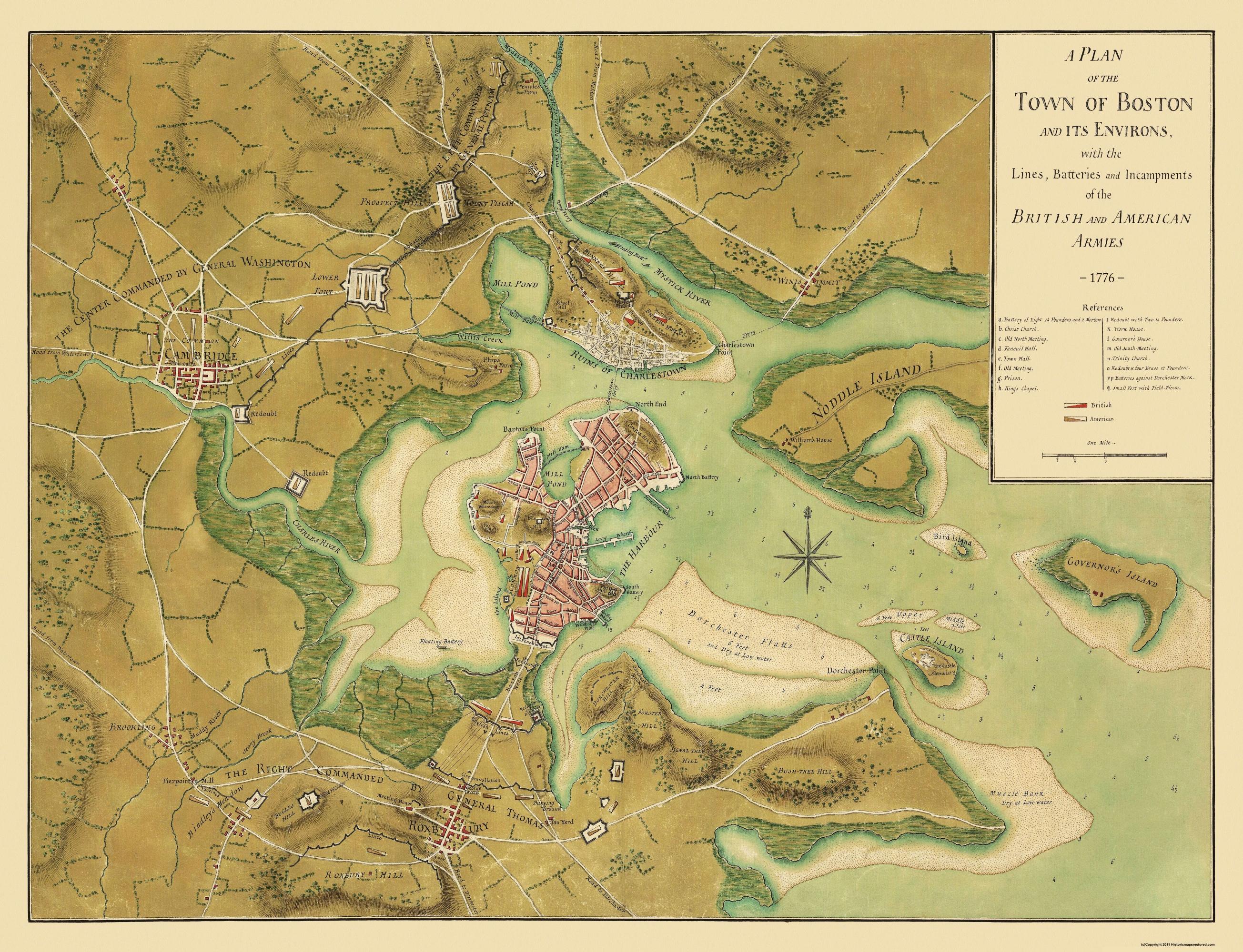 Old City Map Boston Massachusetts - 1776 us map
