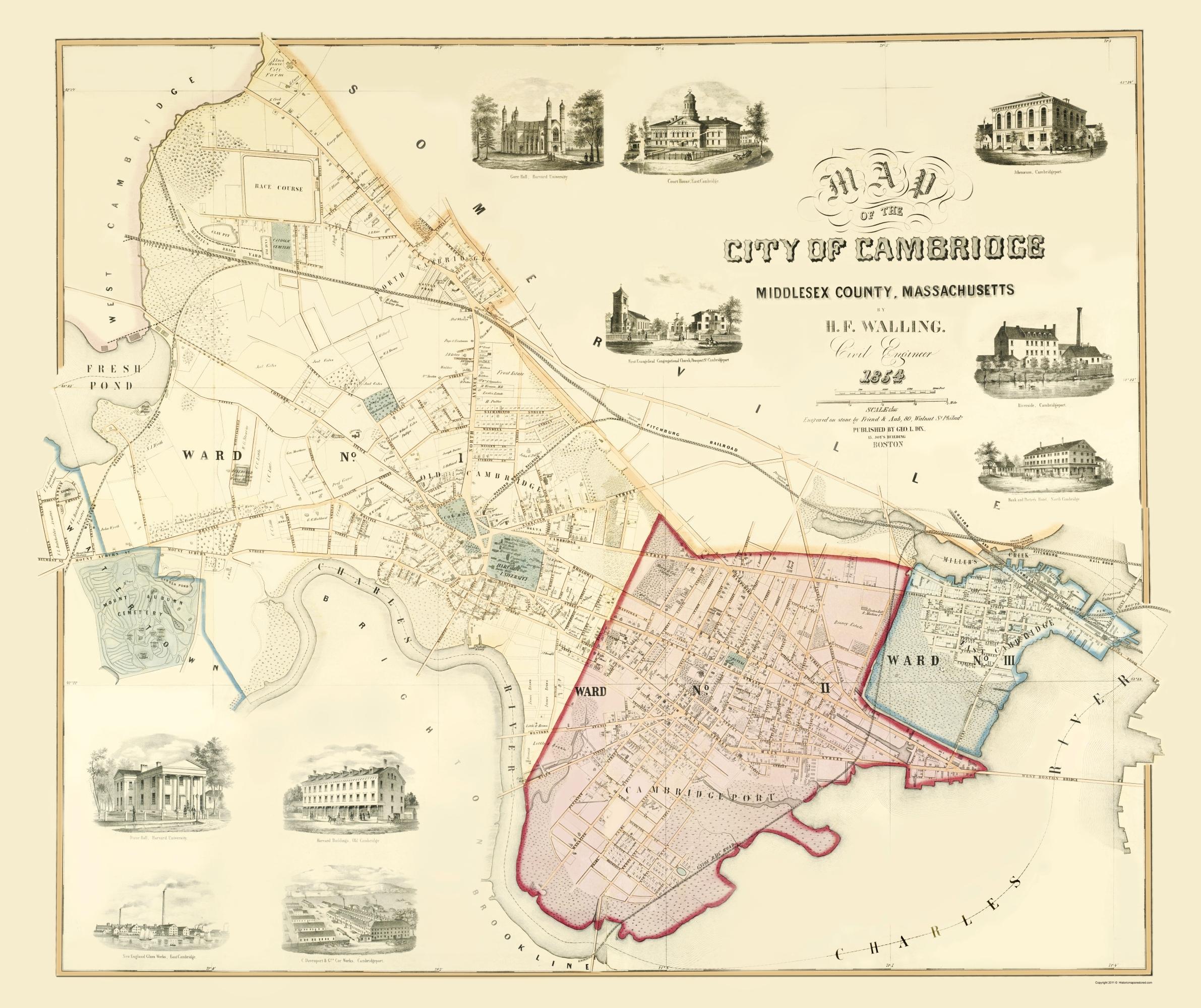 Cambridge Machusetts - Friend 1854 - 23 x 27.40 on cambridge ia map, cambridge md map, cambridge mn map, cambridge wi map, cambridge ny map, cambridge oh map, somerville cambridge boston map, cambridge id map, cambridge london map, cambridge nz map, charlotte nc map, cambridge il map, boston massachusetts city map, cambridge england map,