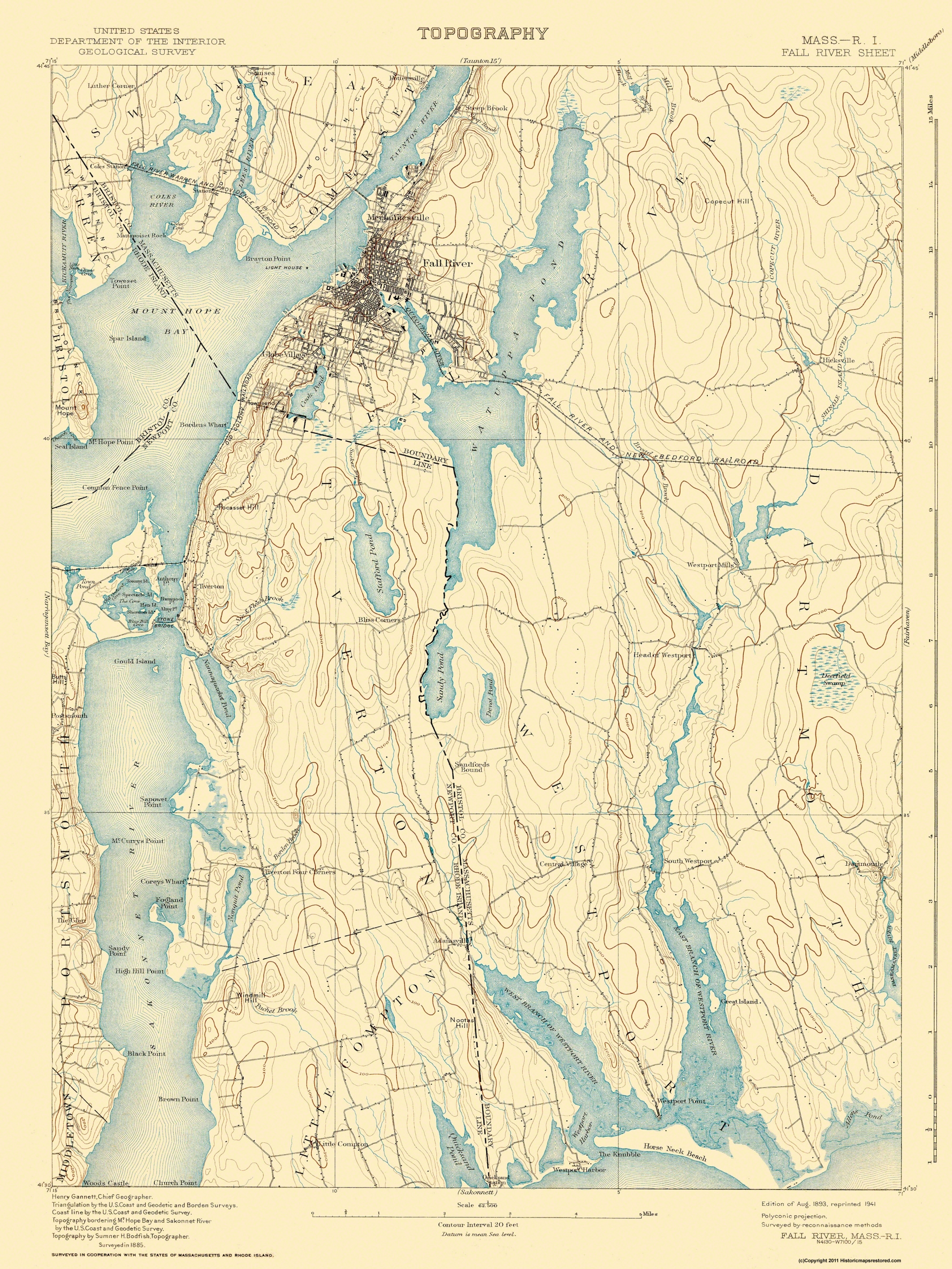 Old Topographical Map Fall River Massachusetts 1893