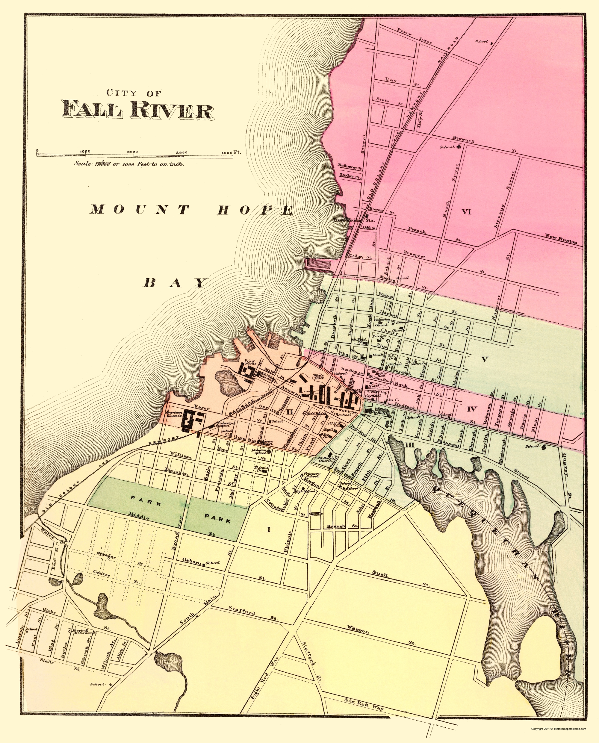 Old City Map Fall River Massachusetts Walling 1871