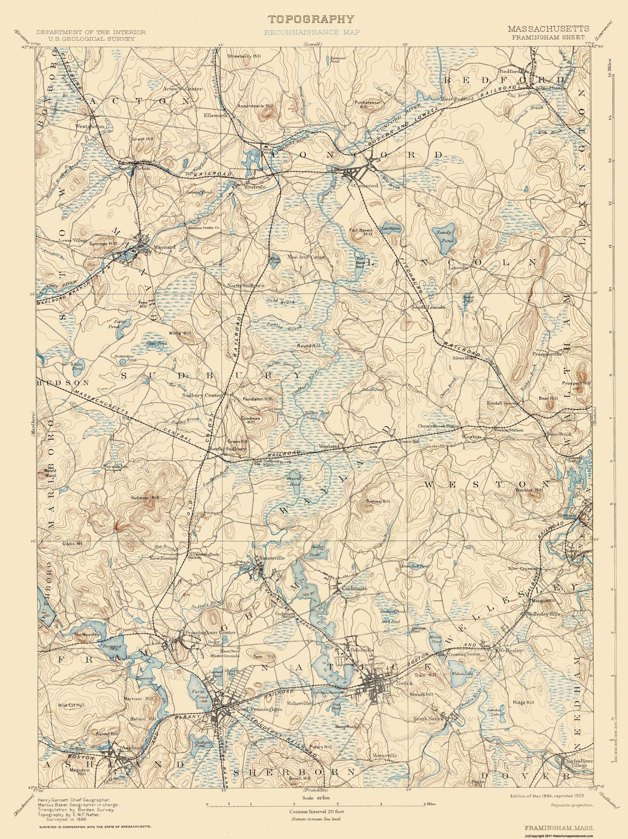 Old Topographical Map Framingham Massachusetts 1894