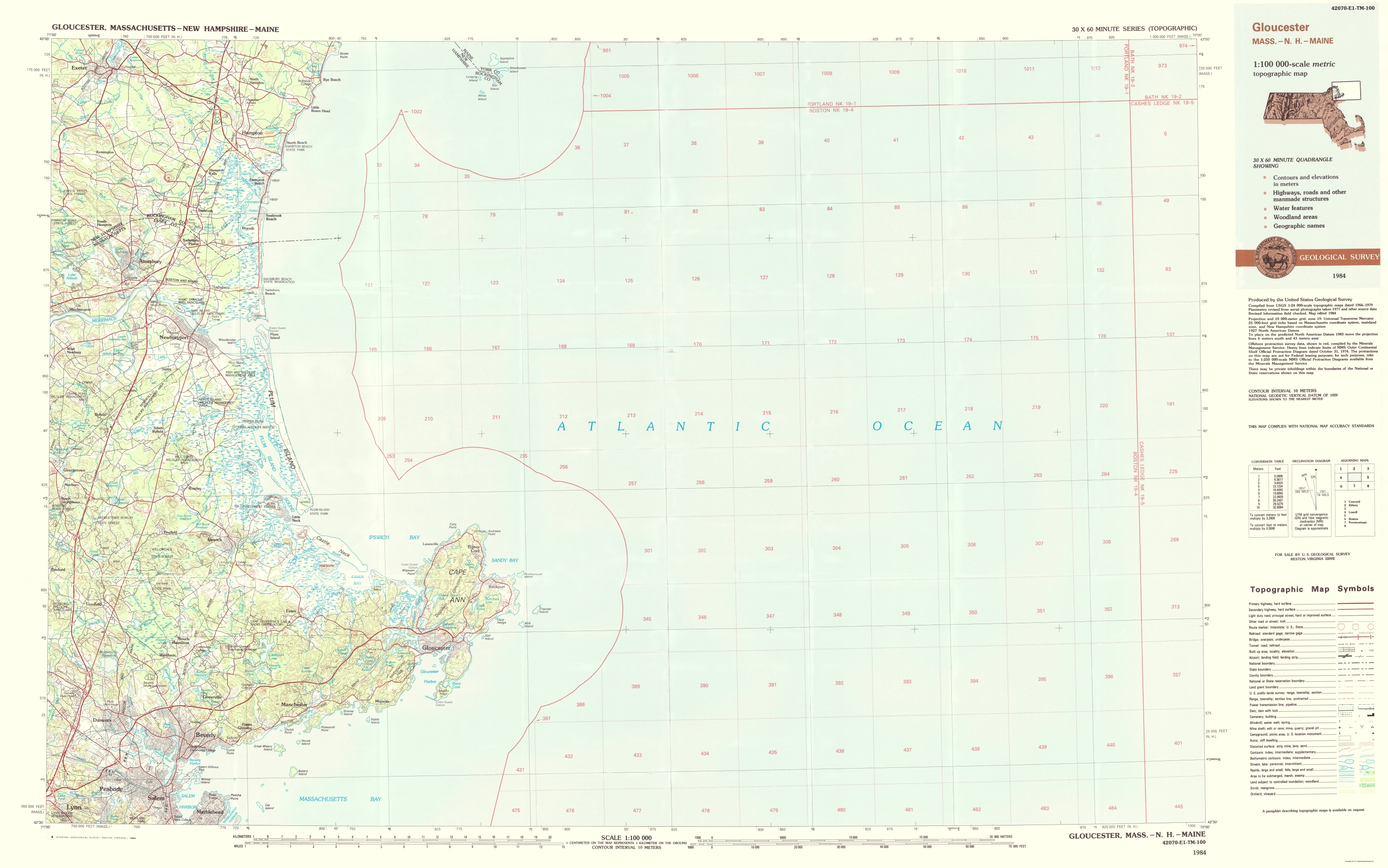Topographic Map Massachusetts.Old Topographical Map Gloucester Massachusetts 1984