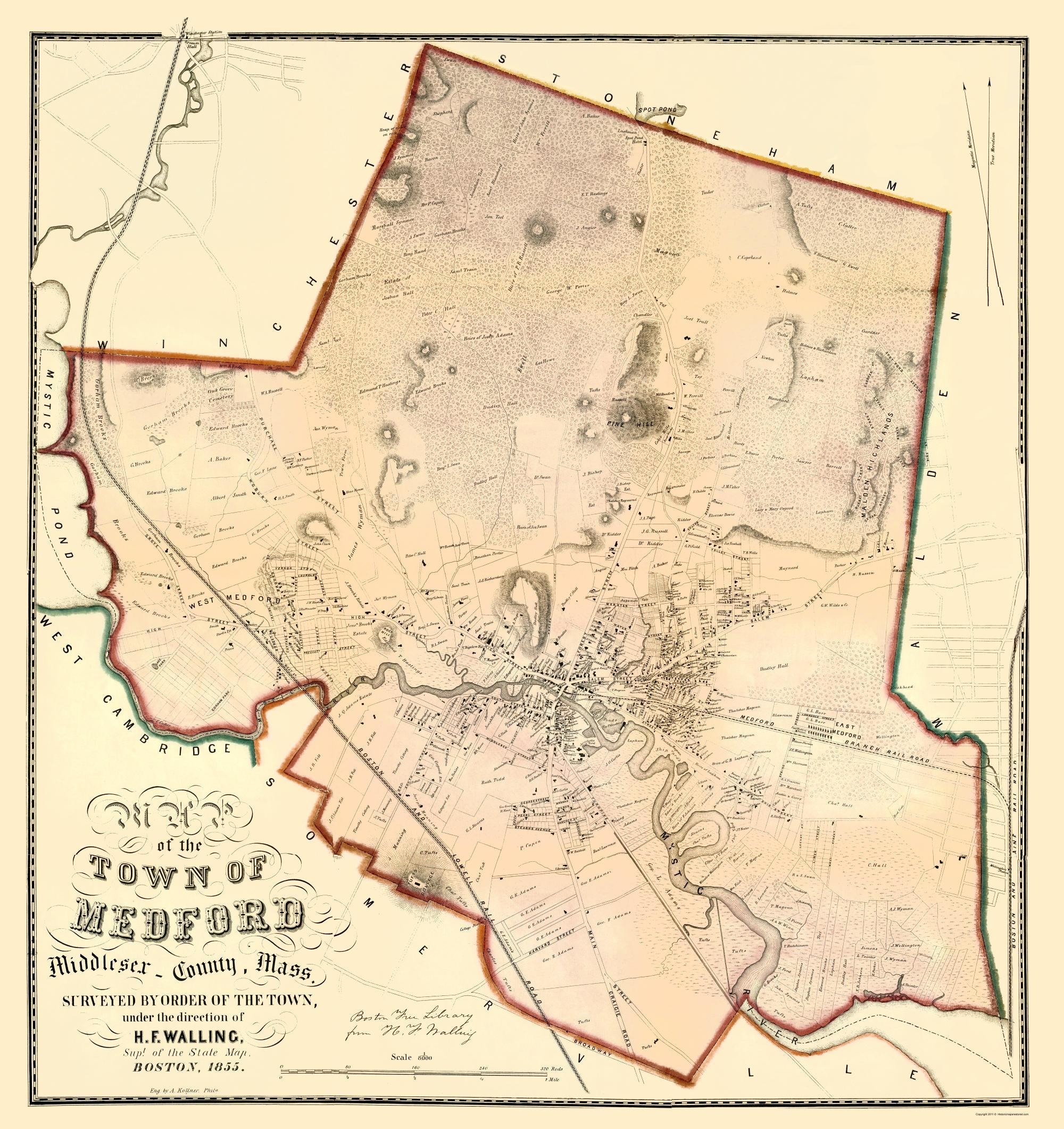 Old City Map Medford Massachusetts Landowner 1855