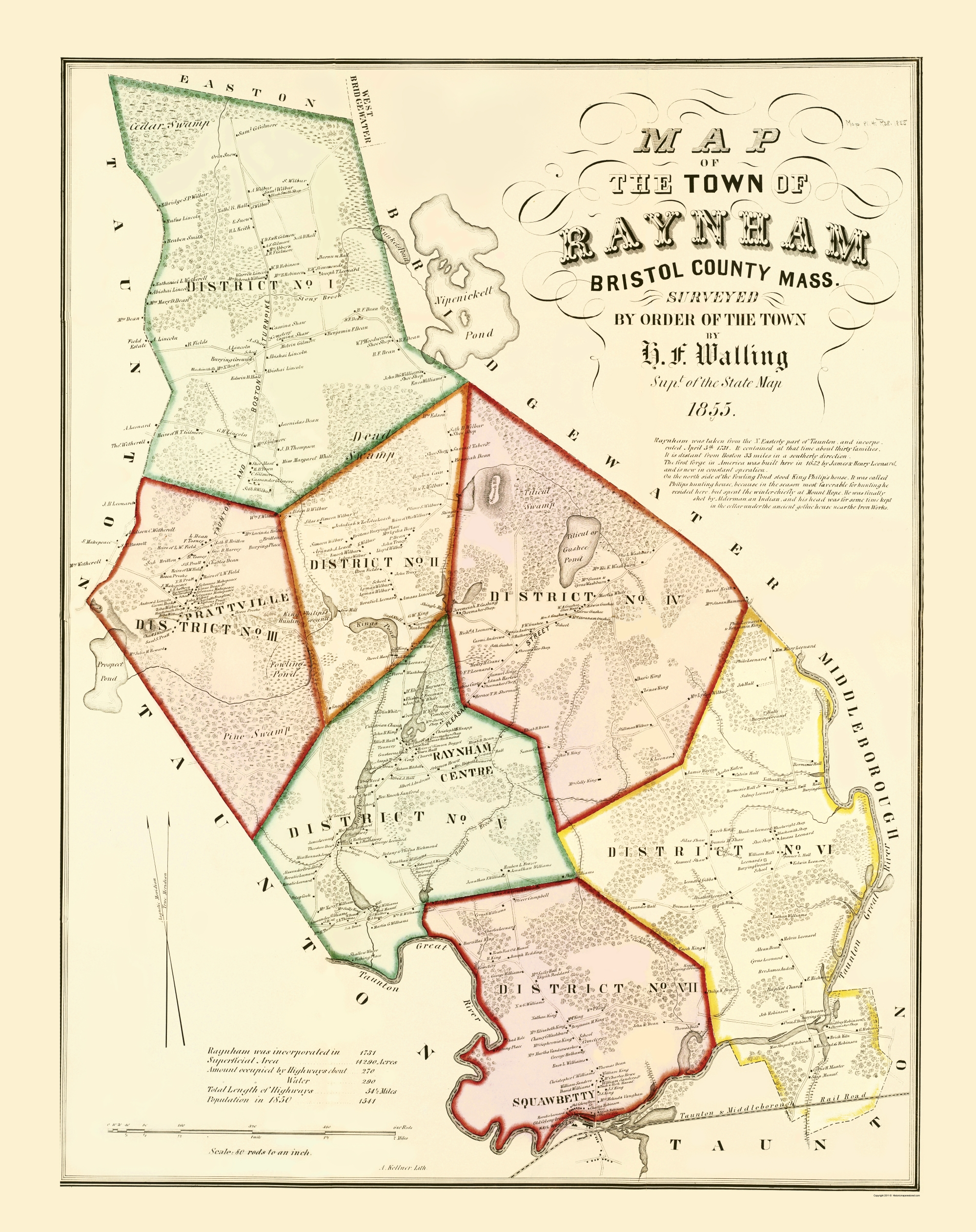 Old City Map Raynham Massachusetts Walling 1855