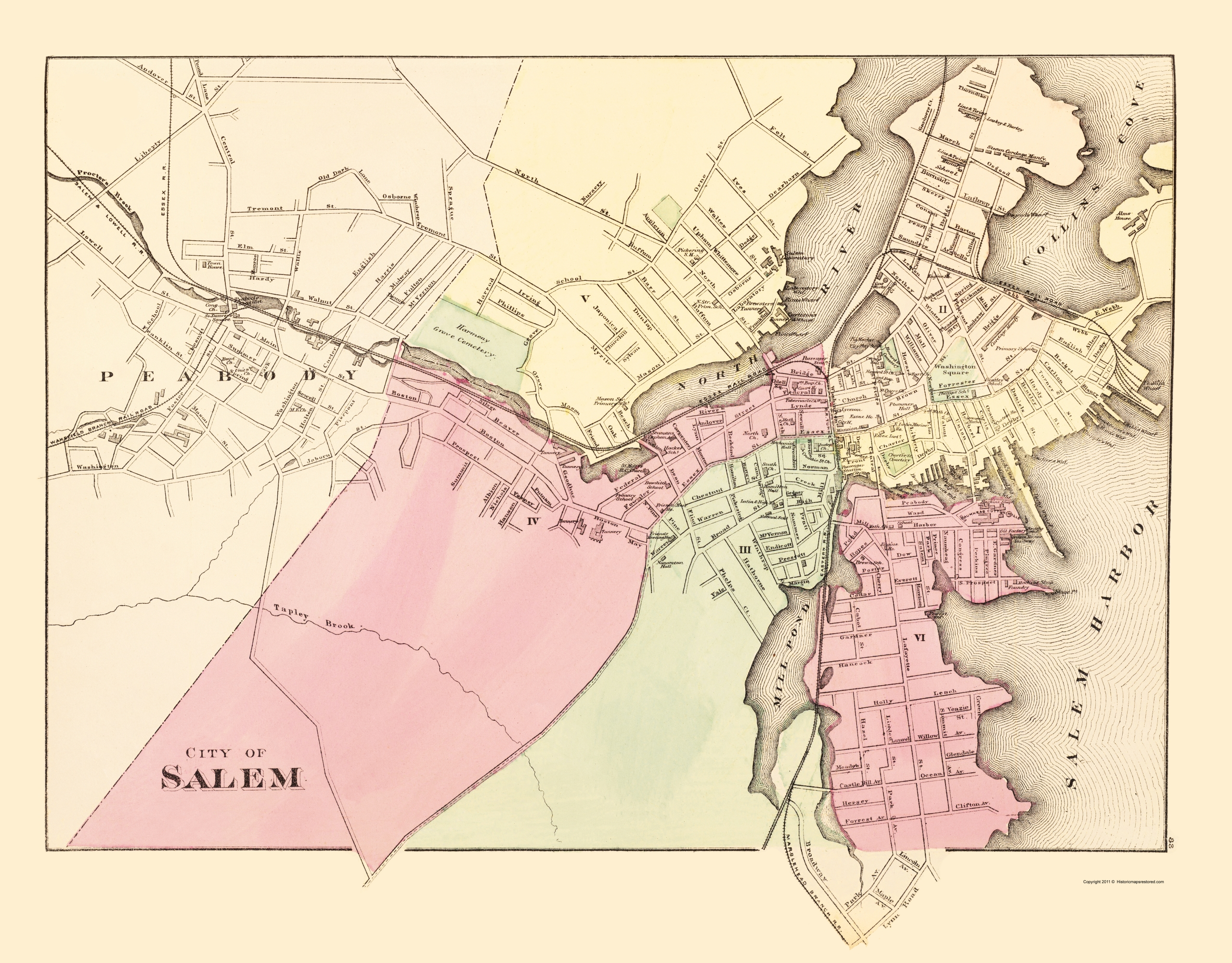 Map Of Salem Ma Old City Map   Salem Massachusetts   Walling 1871