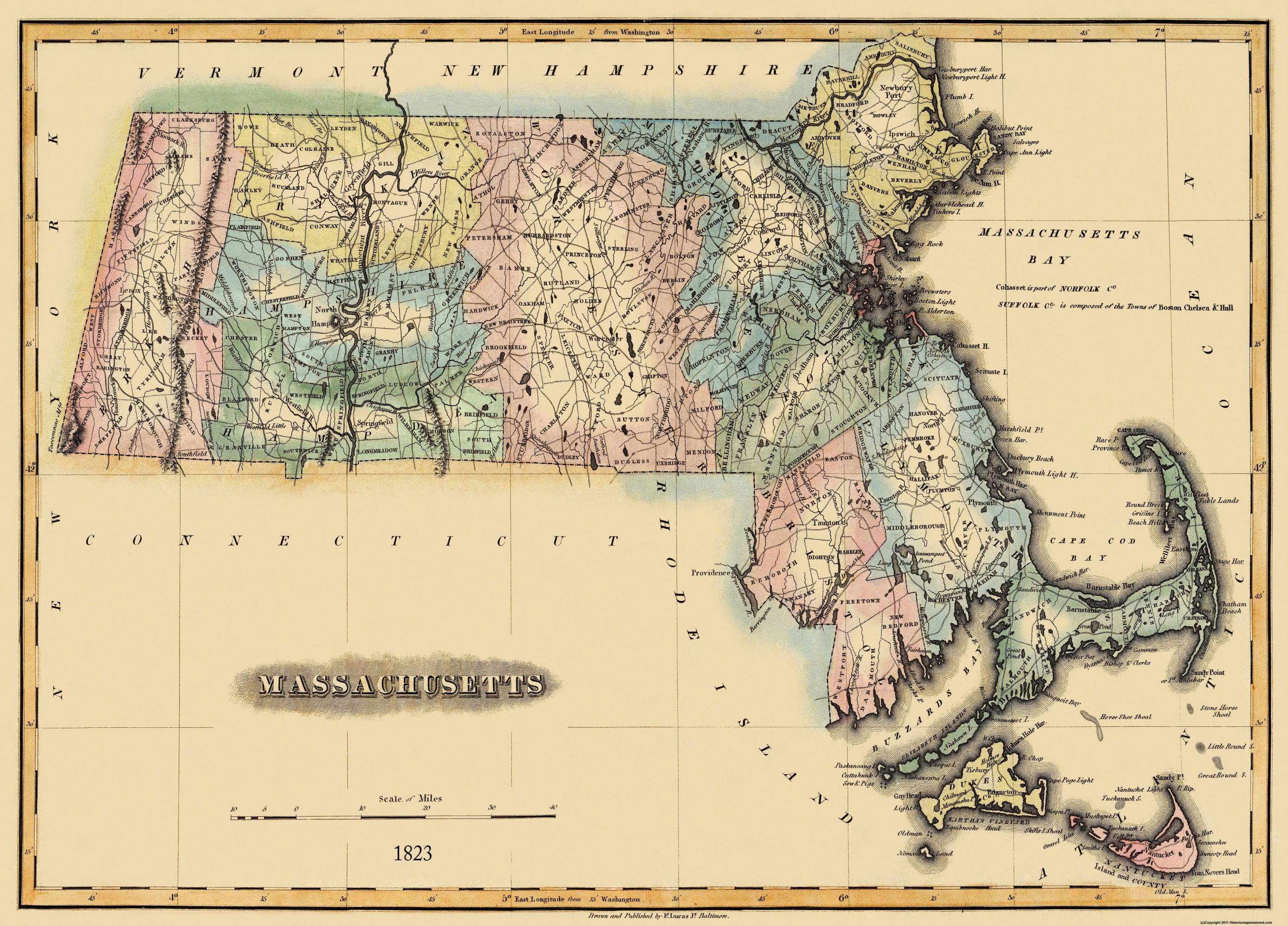 Old State Map Massachusetts Lucas - 1823 us map