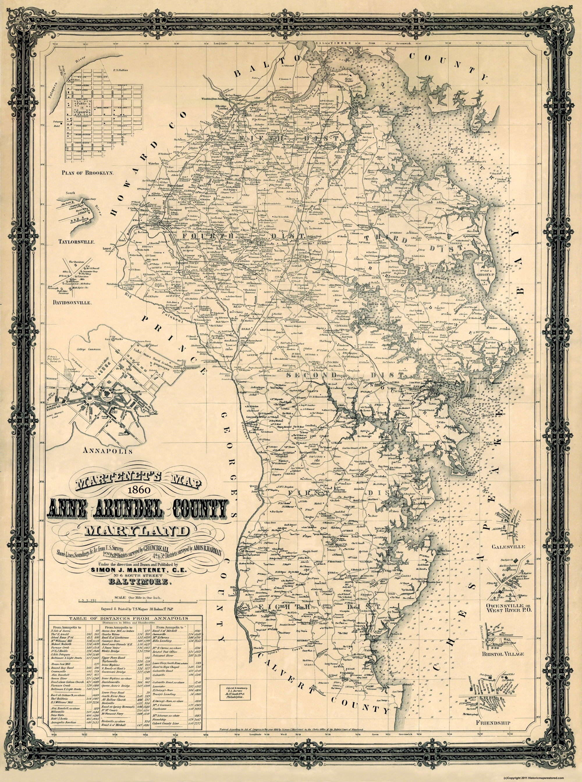 Old County Map Anne Arundel Maryland Landowner - Maryland county map