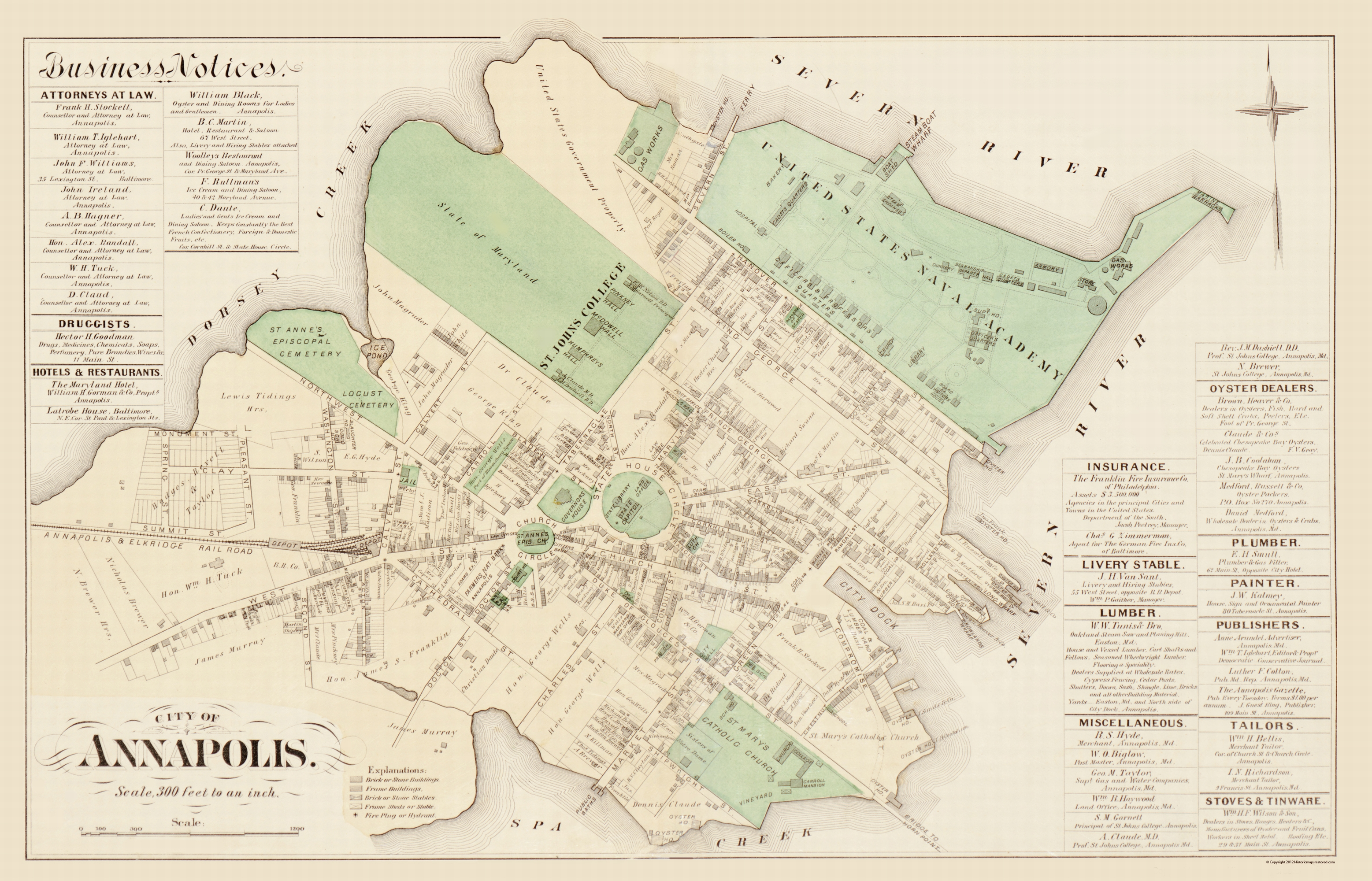 Old City Map - Annapolis Maryland - Hopkins 1877