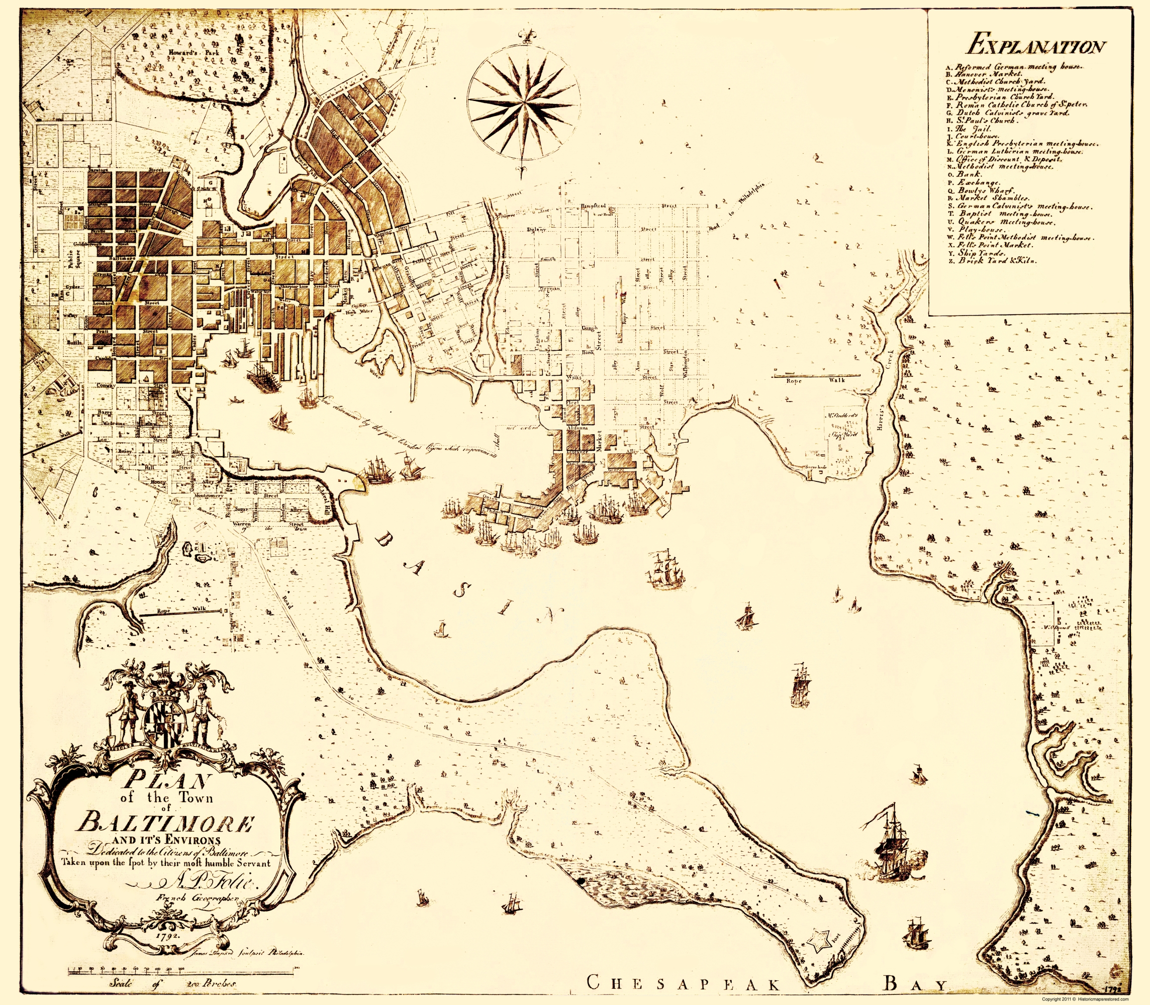 Old City Map - Baltimore Maryland - Folie 1792 City Map Of Maryland on