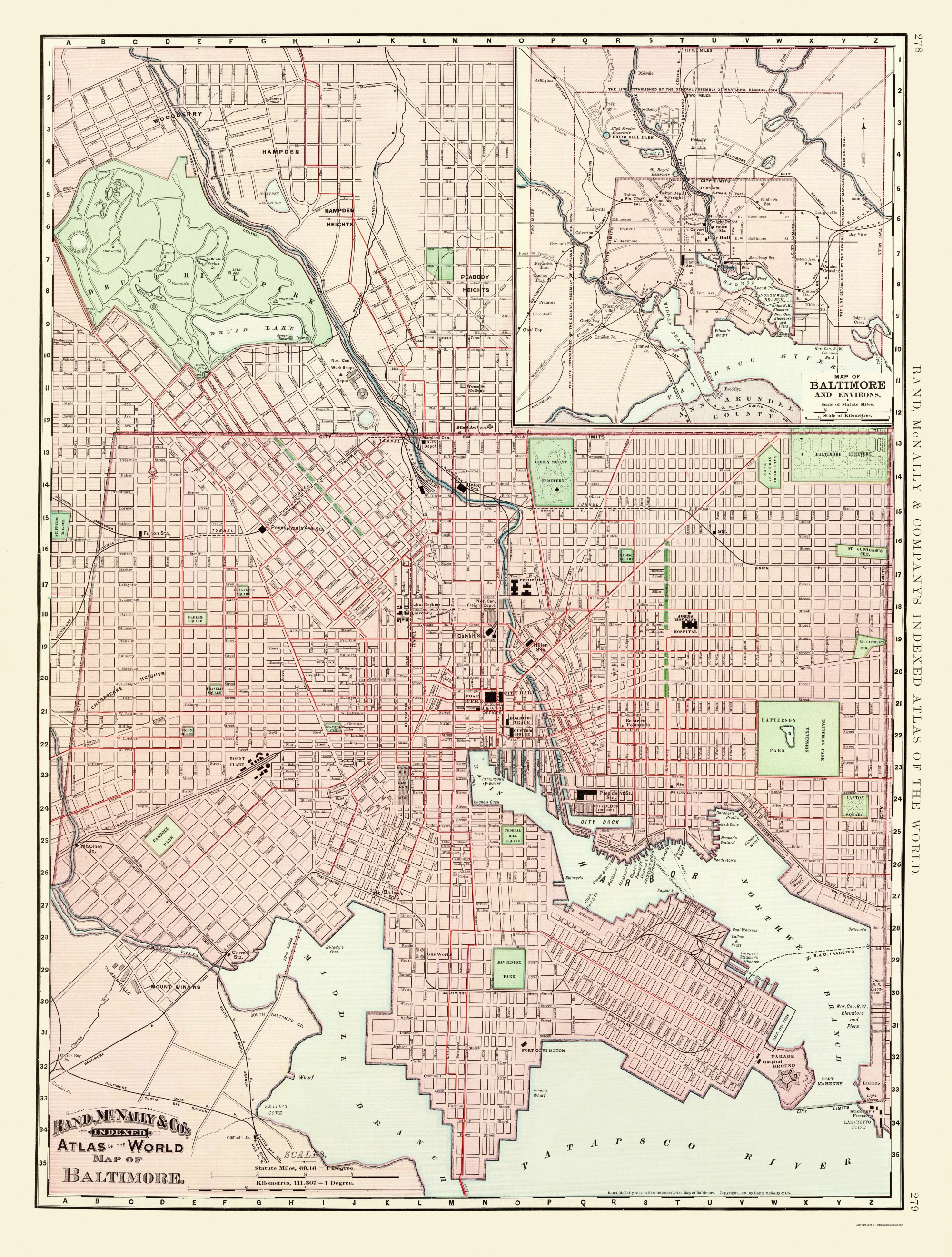 Baltimore Maryland - Rand McNally 1897 - 23 x 30.39