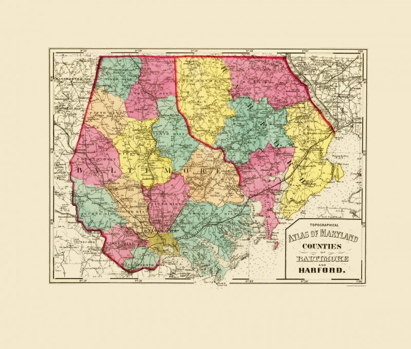 Old County Map - Baltimore, Harford Maryland - Stedman 1873 - 23 x 27.13