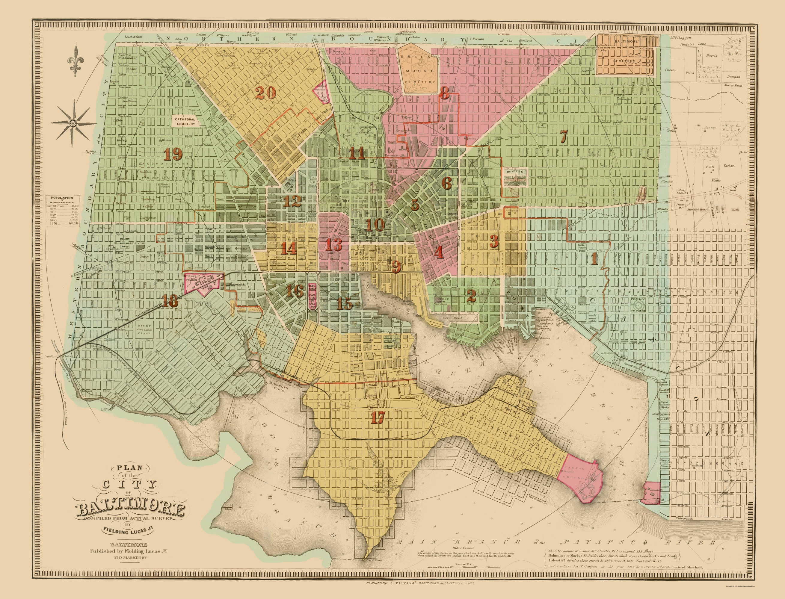 Old City Map - Baltimore Maryland - Lucas 1852
