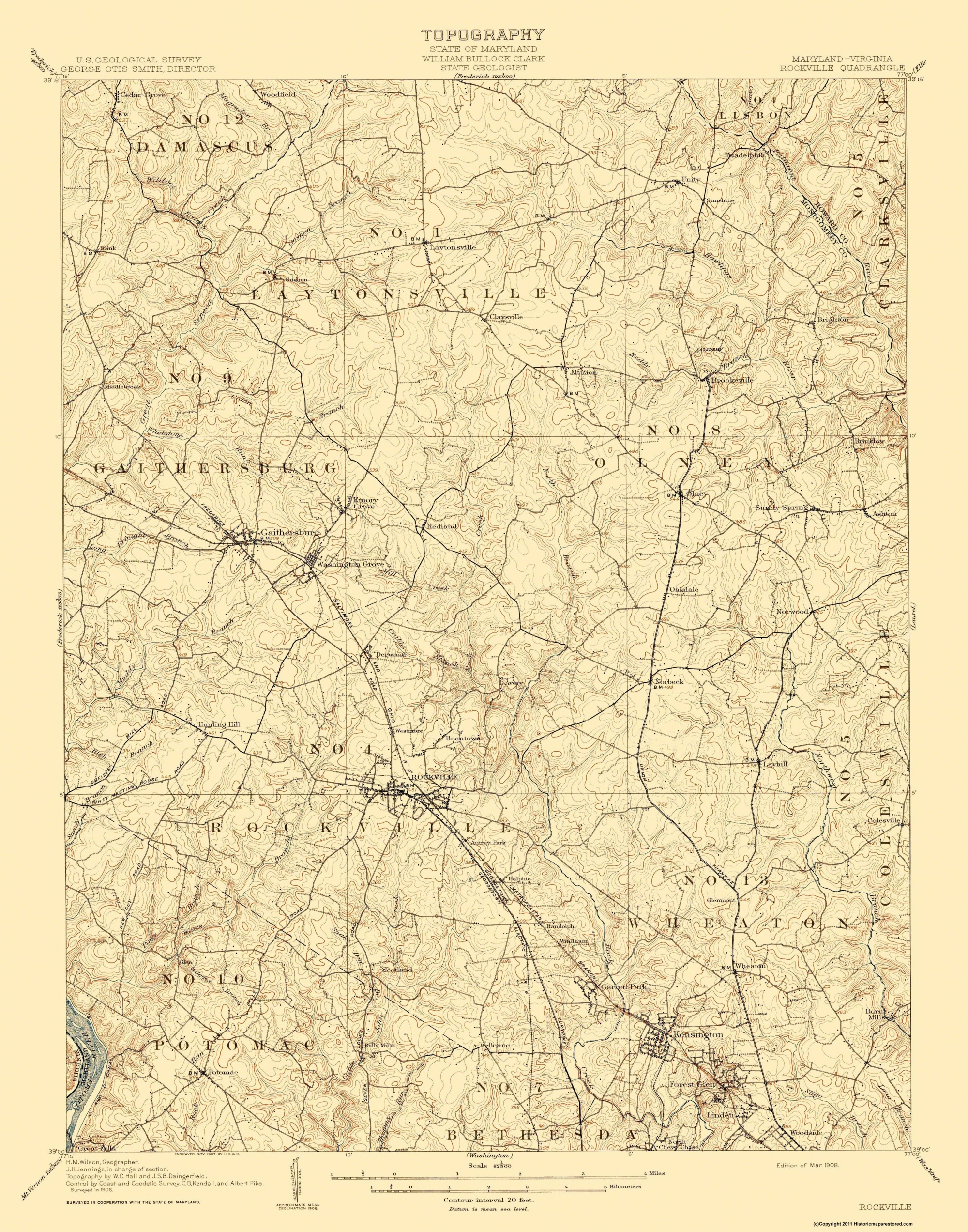 Old Topographical Map - Rockville Maryland, Virginia 1908