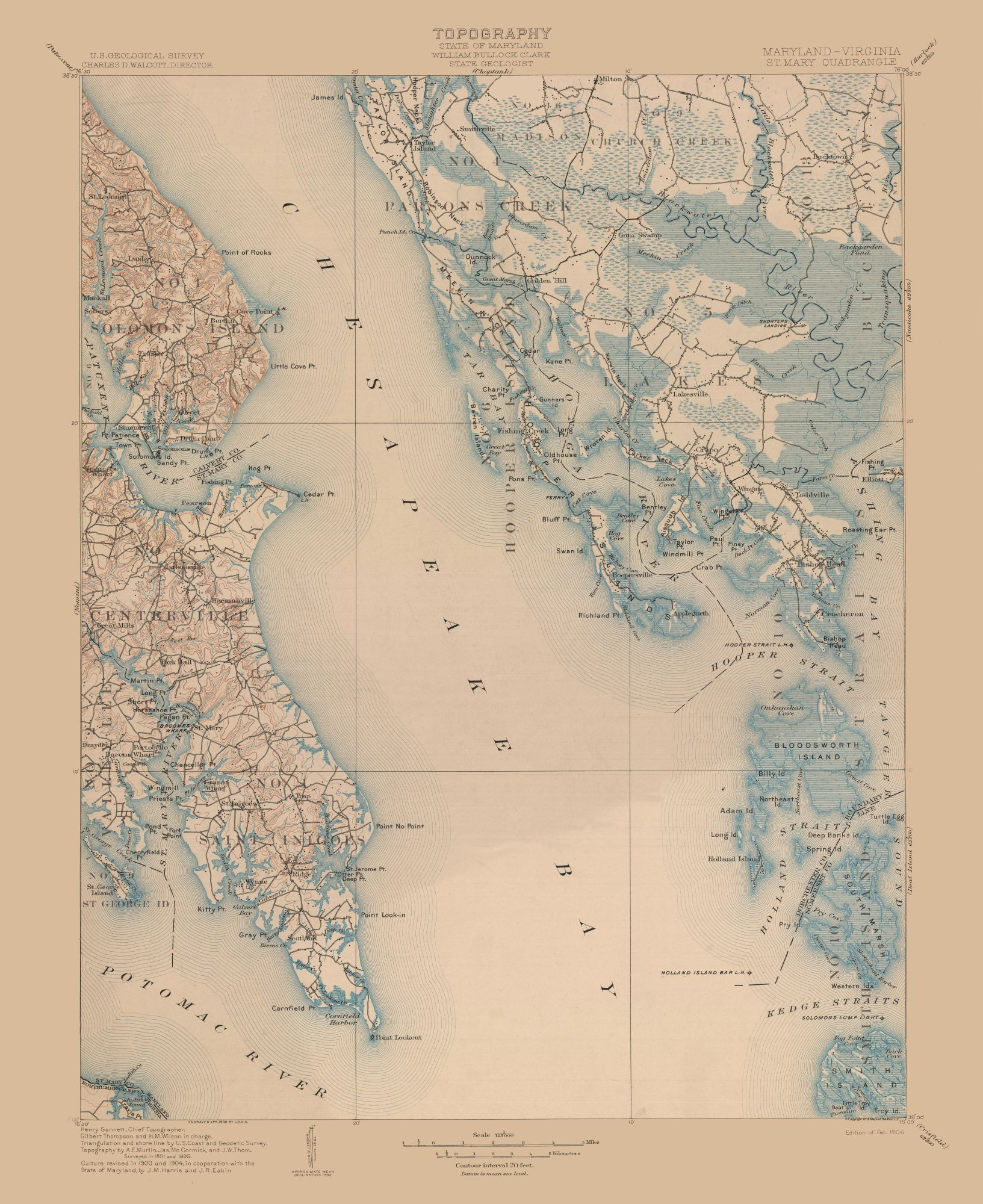 Topographic Map - St Mary Maryland Quad - USGS 1906 - 23 x 28.17