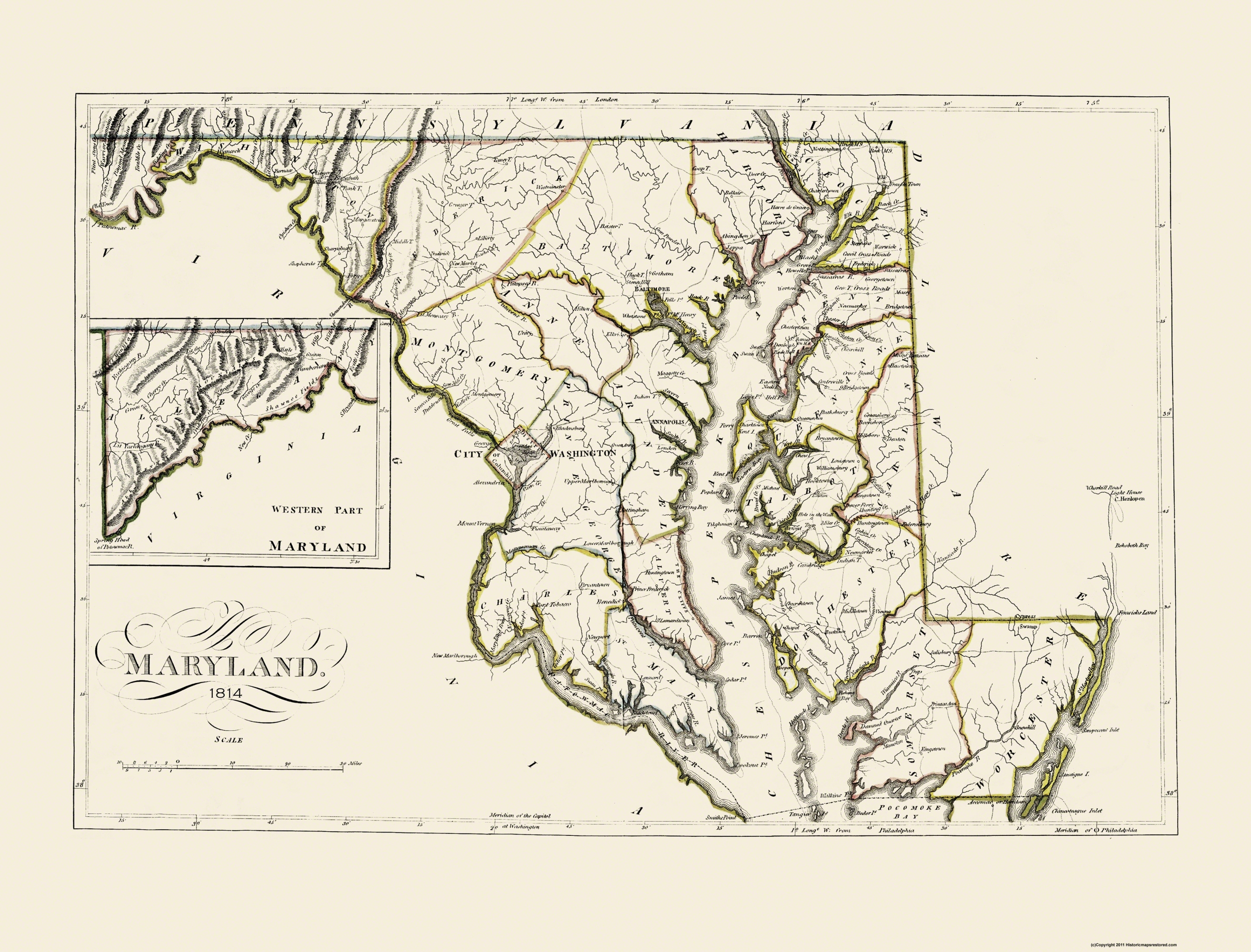 Old Map Maryland Carey - 1814 us map