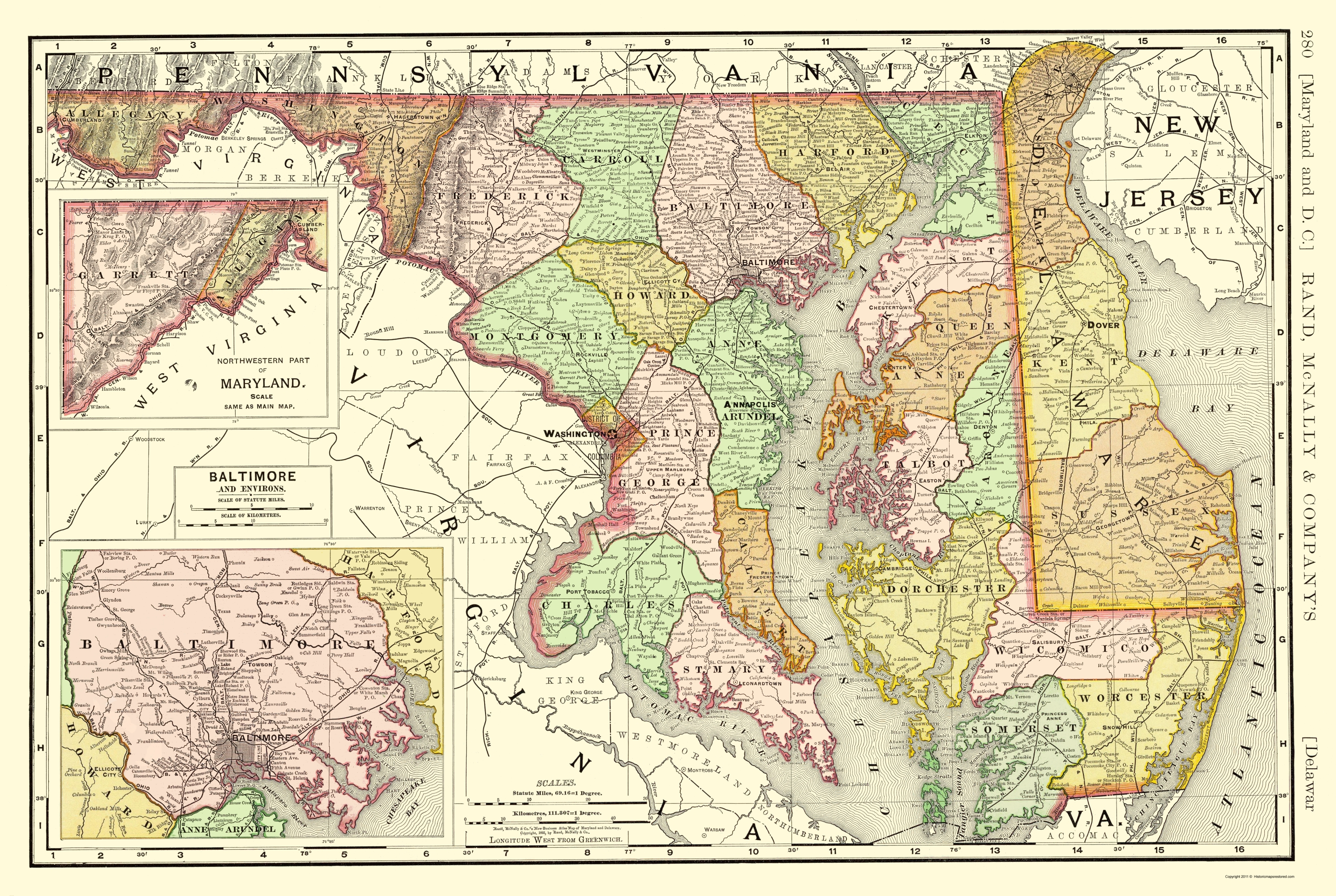 Old State Map - Maryland, Delaware - Rand McNally 1893