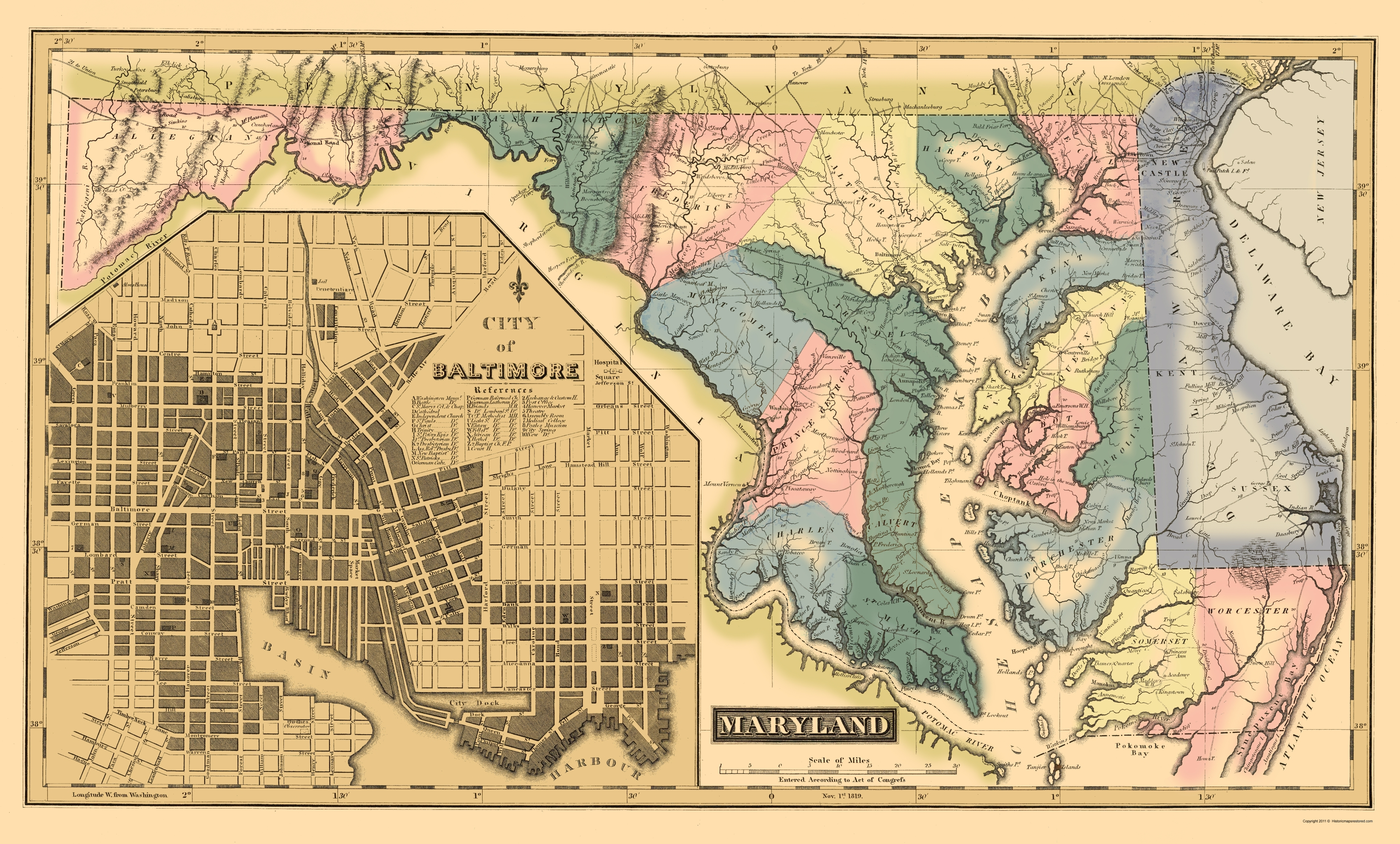 Old State Map - Maryland, Delaware - Lucas 1823