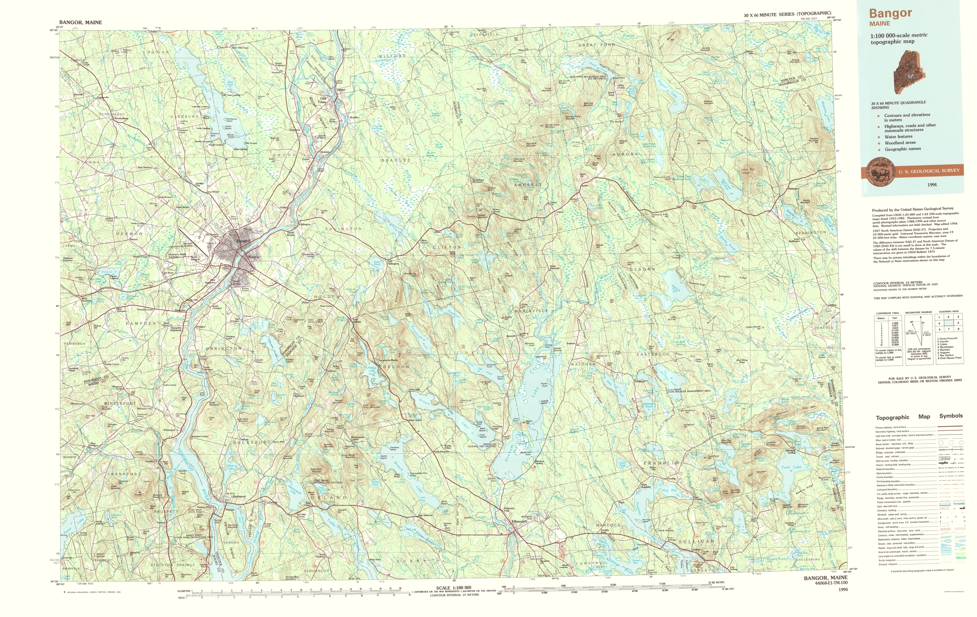 Old Topographical Map Bangor Maine 1994