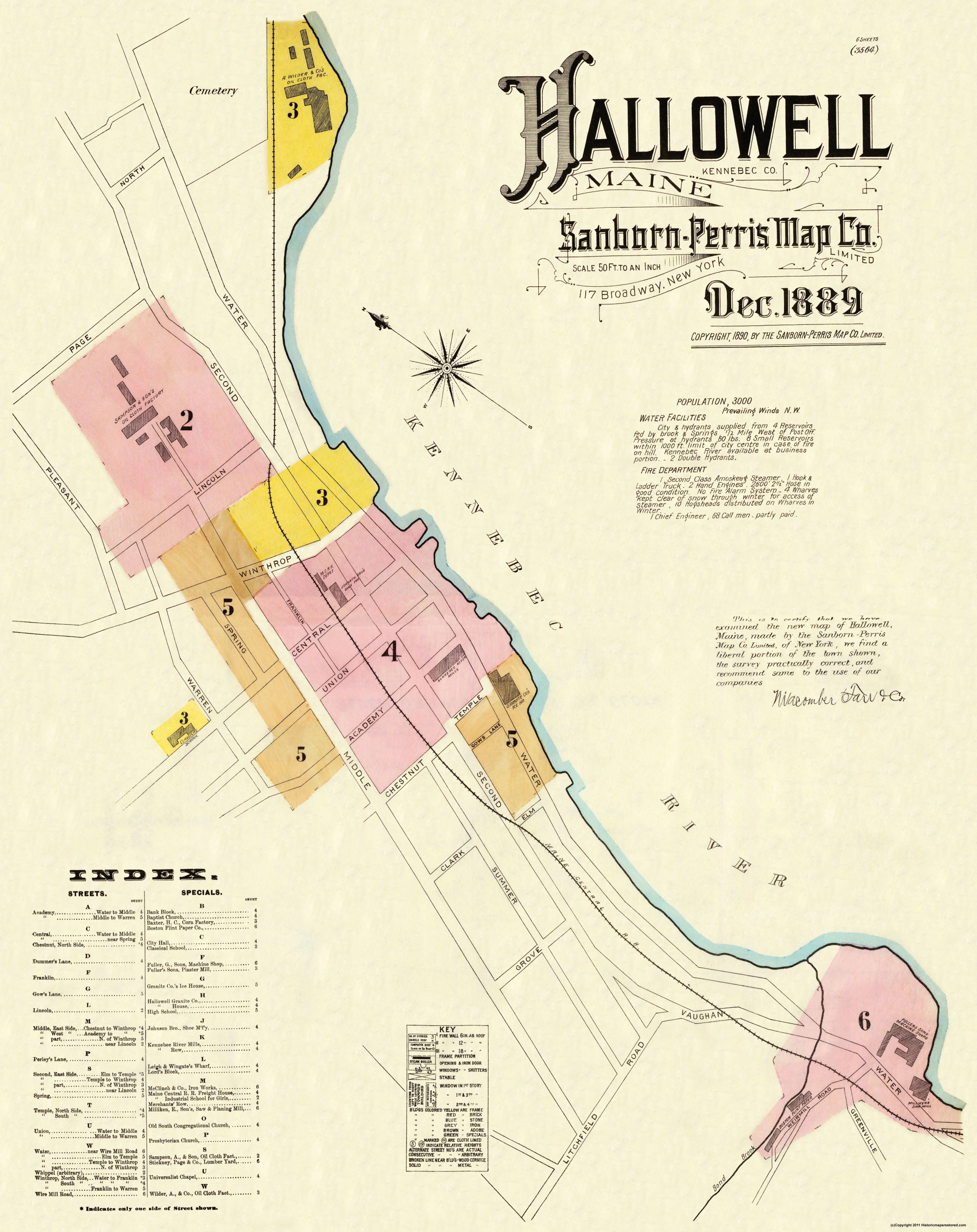 Old Maine Map.Old City Map Hallowell Maine Sanborn 1889