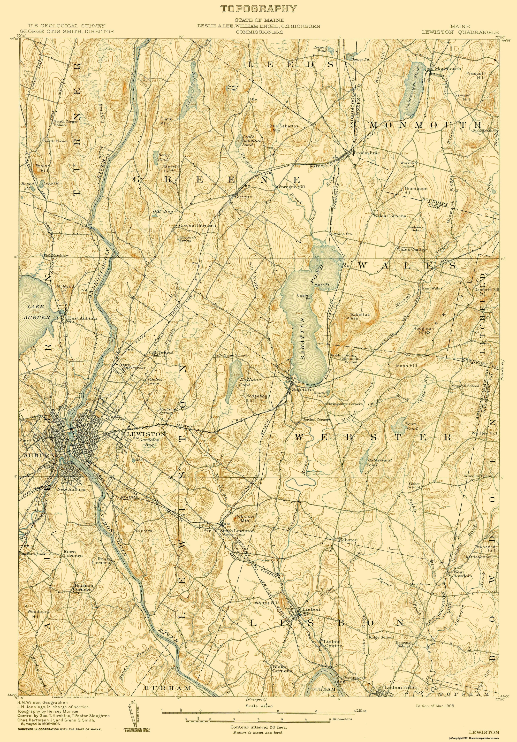 Old Topographical Map Lewiston Maine 1908