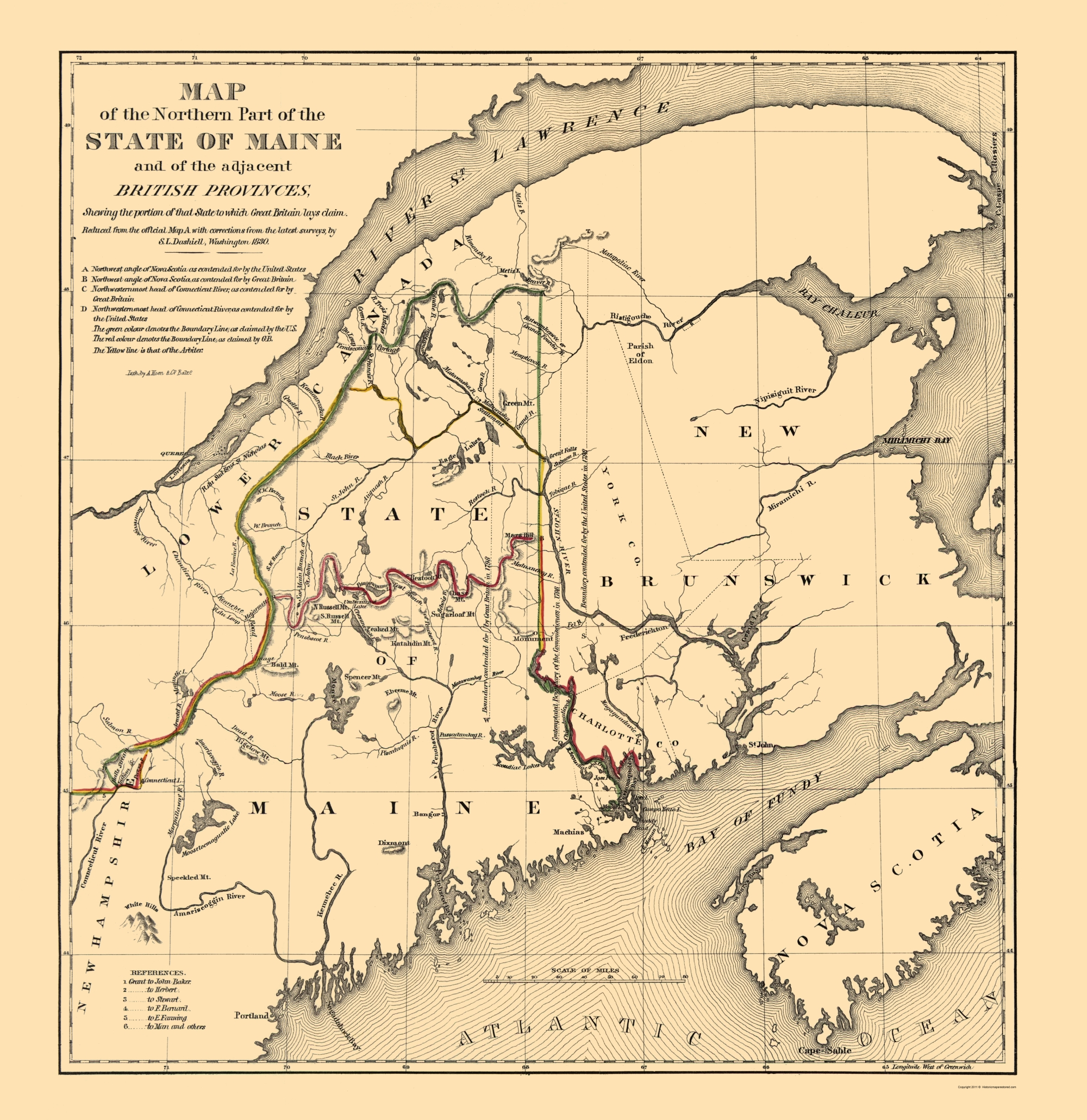 Old Maine Map.Old State Map Maine Northern Hoen 1830
