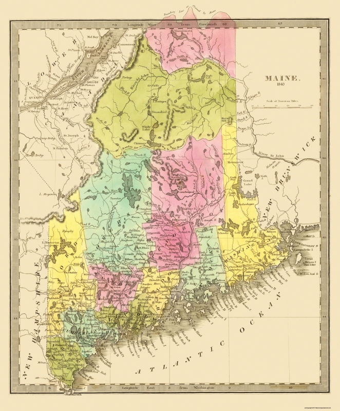Old State Map - Maine - 1840 - 23 x 27.8