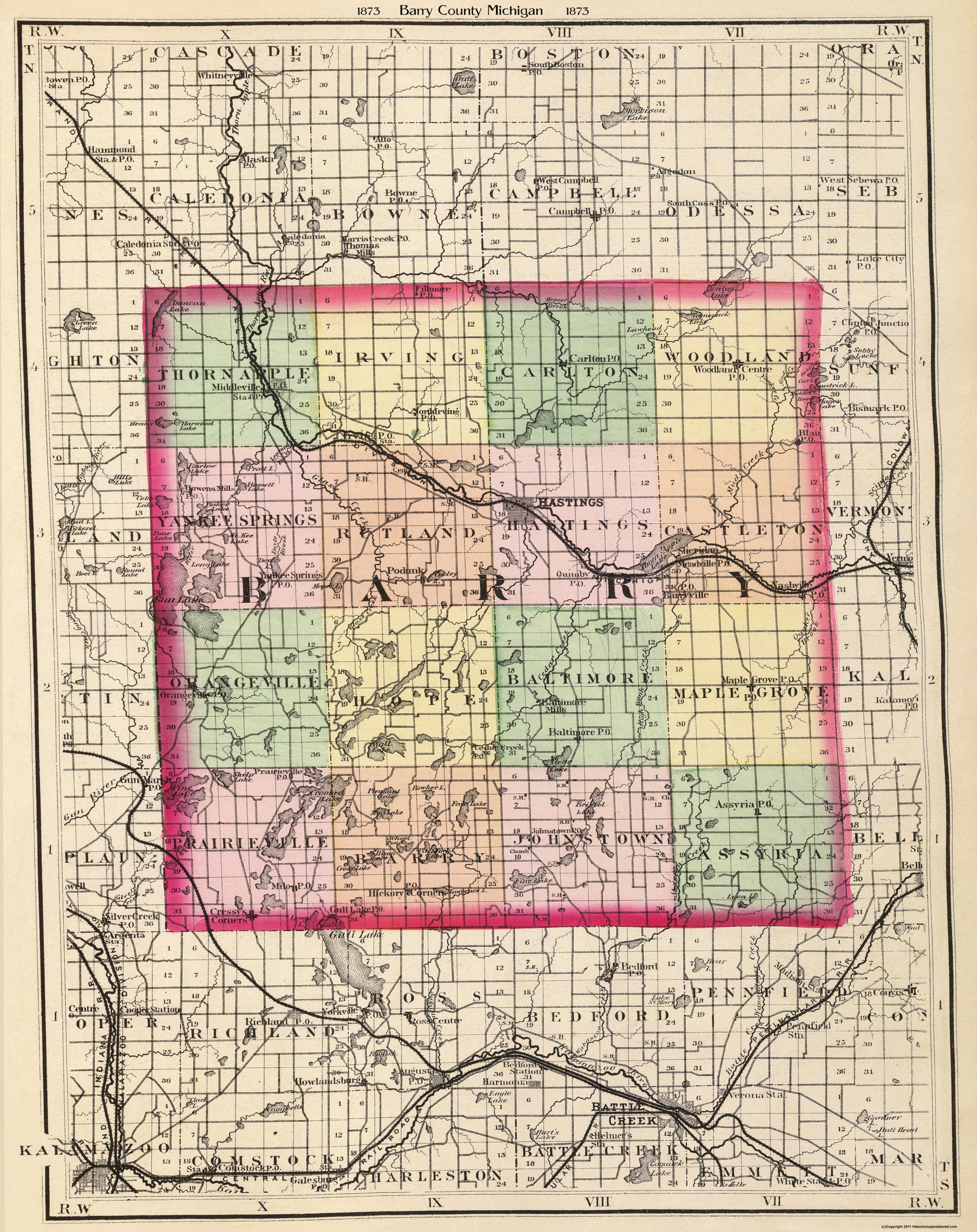 Old County Map Barry Michigan 1873