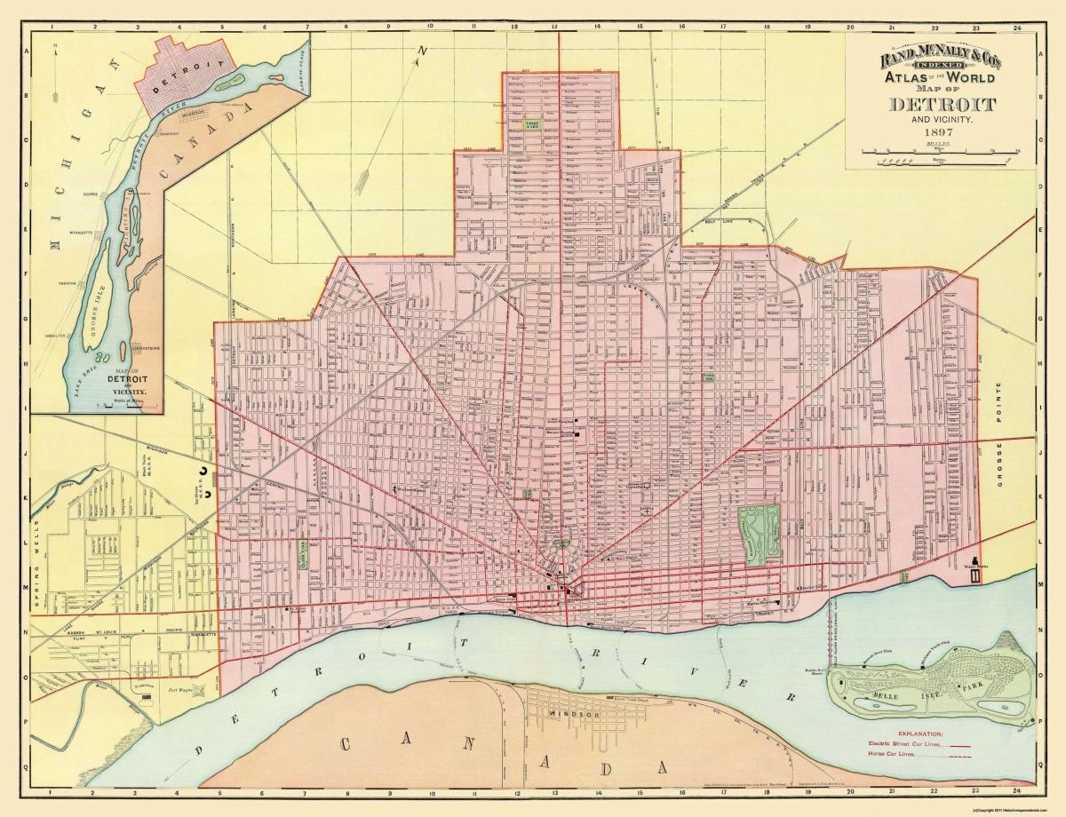 Old City Map Detroit Michigan Rand McNally 1897