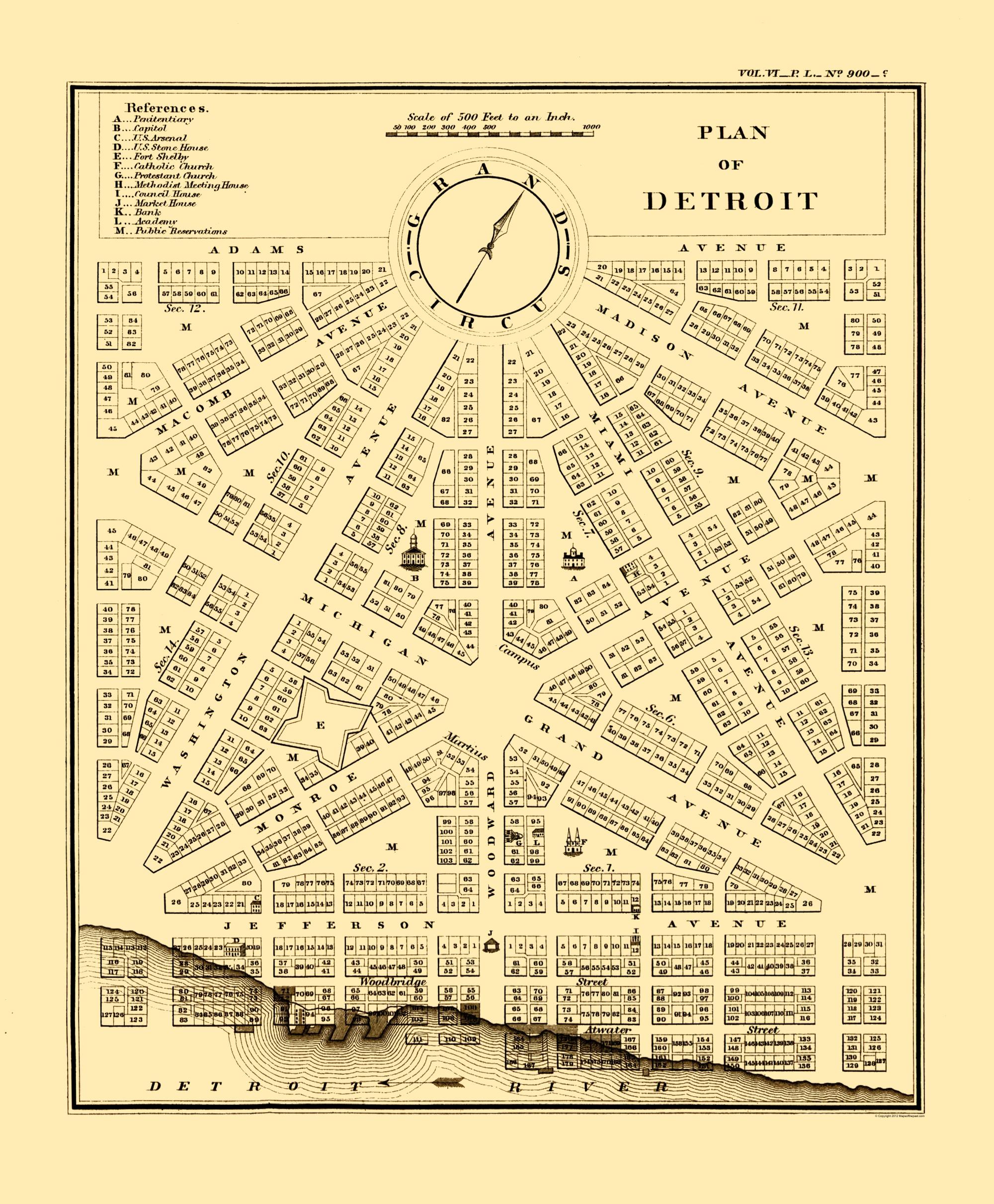Old City Map Detroit Plan Michigan Plan Bowen 1807