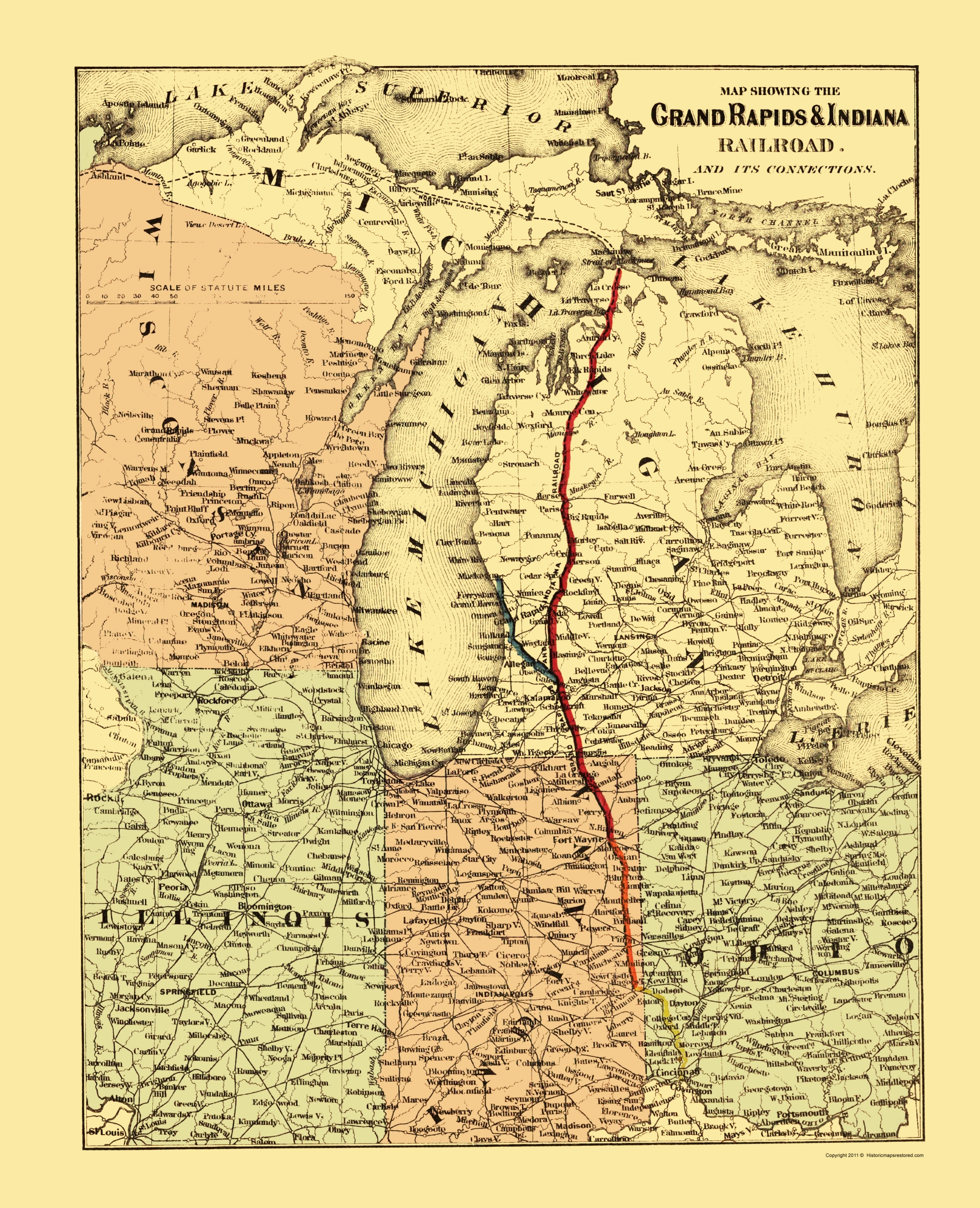 Old Railroad Map Grand Rapids and Indiana Railroad 1871