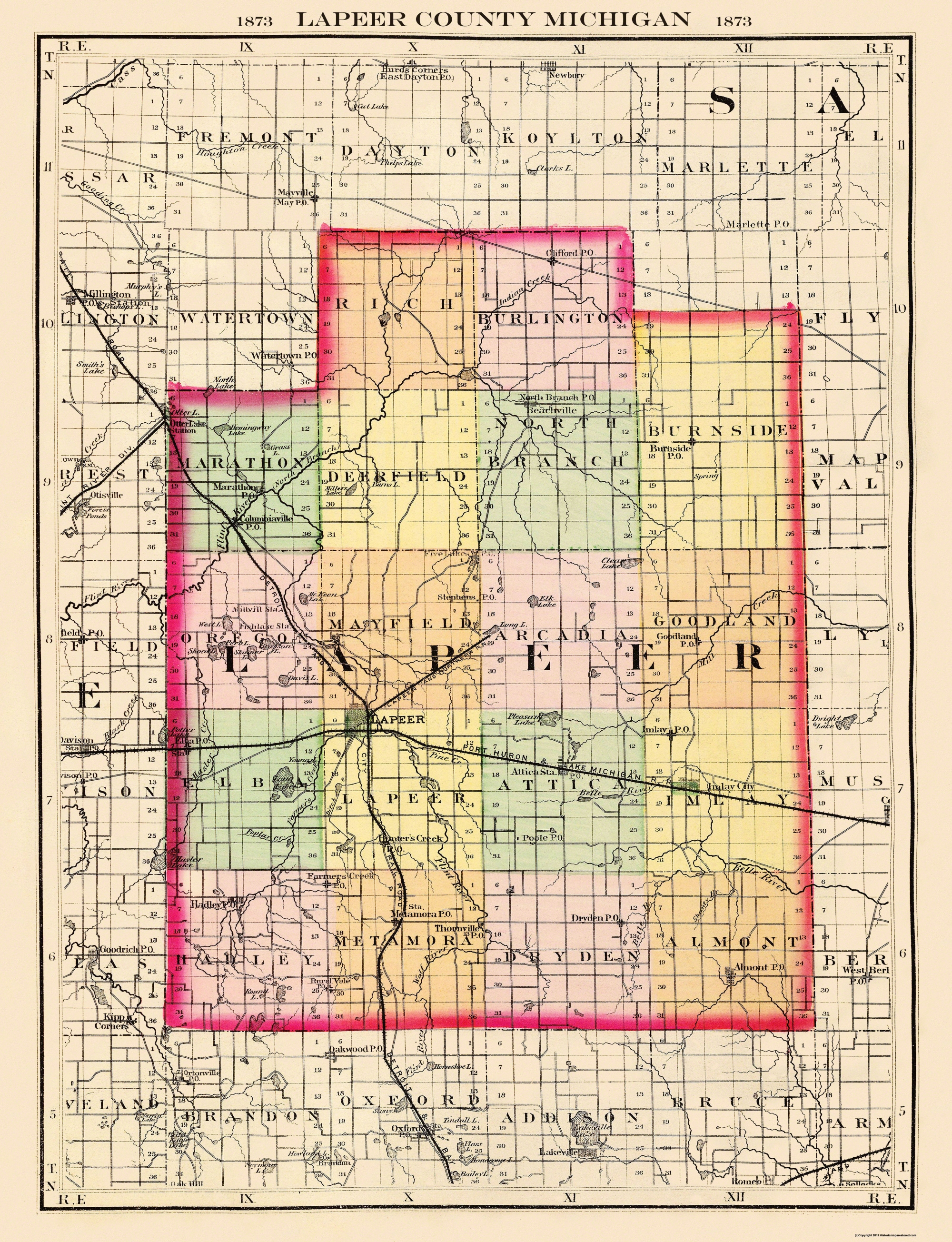 Old County Map Lapeer Michigan 1873