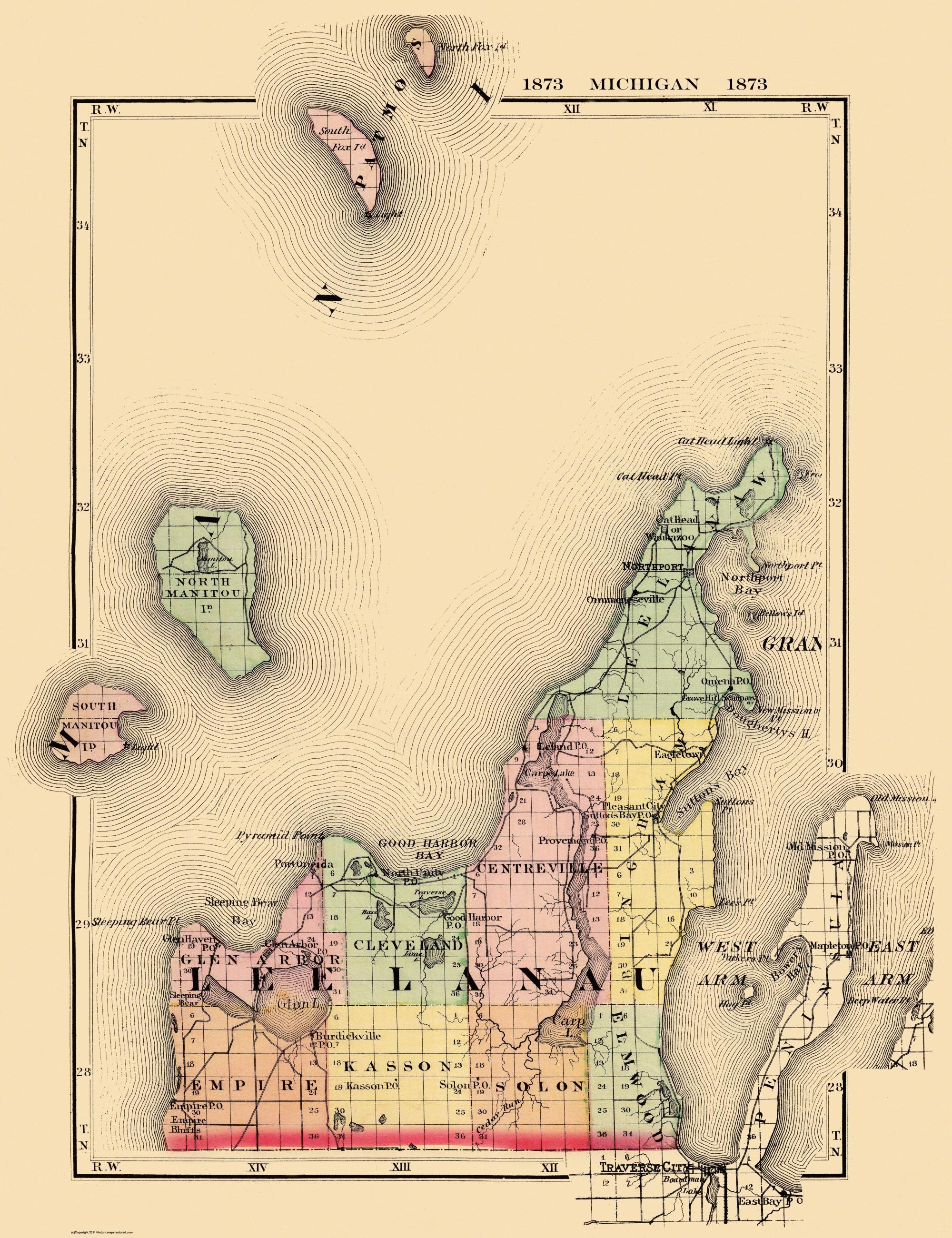 Sutton Bay Michigan Map.Old County Map Leelanau Michigan 1873