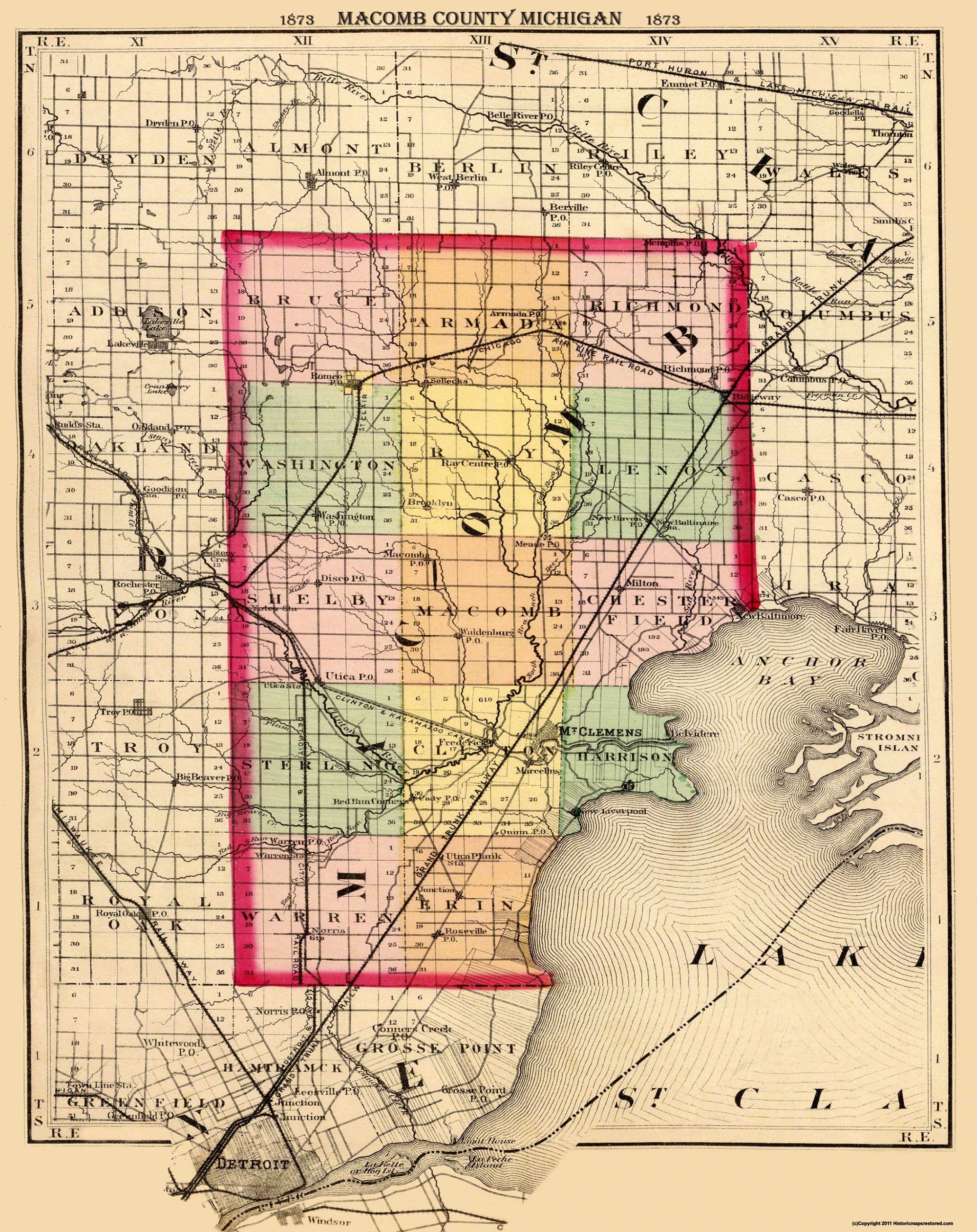 Old County Map Macomb Michigan 1873