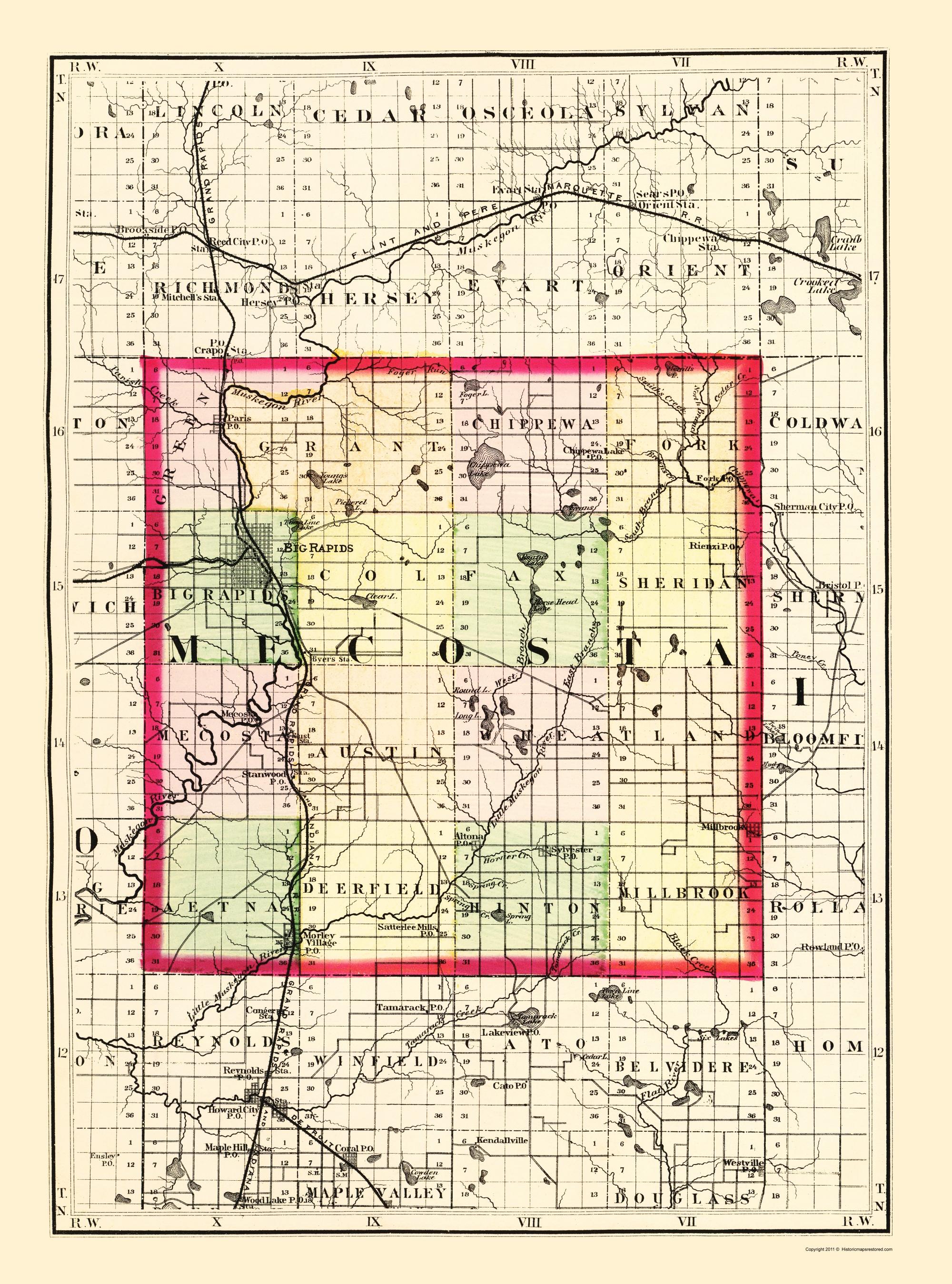 Mecosta Michigan Map.Old County Map Mecosta Michigan Tackabury 1873