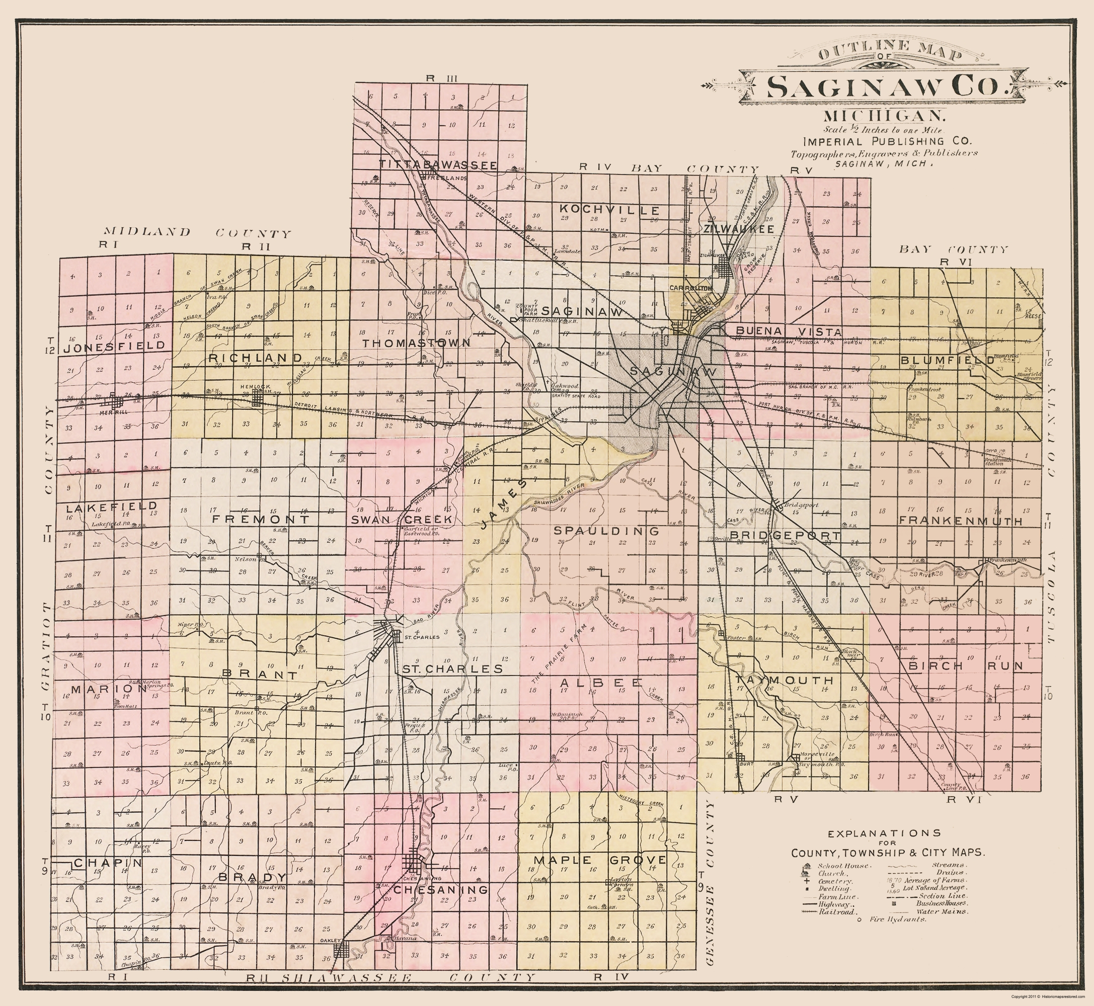 Old County Map Saginaw Michigan Imperial 1896