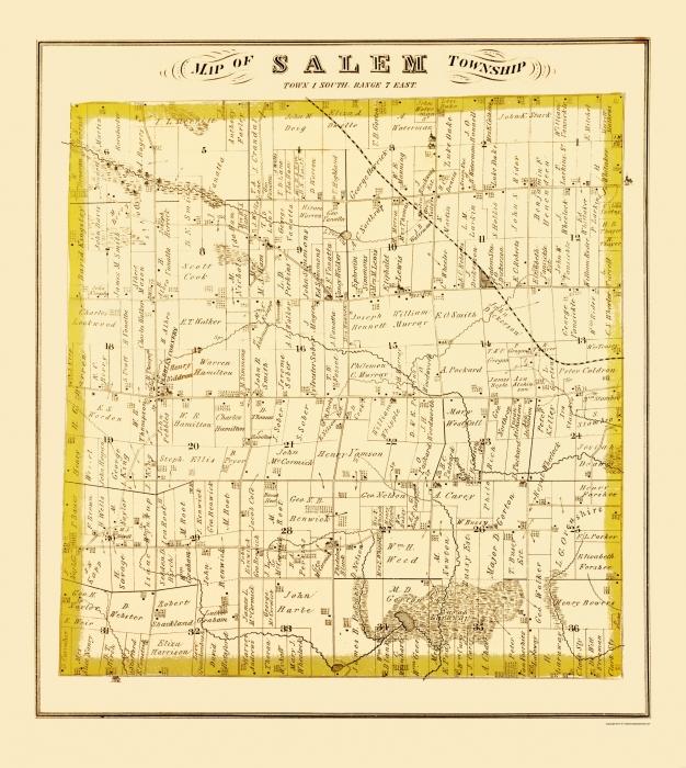 Old County Map Salem Michigan Landowner - Michigan land ownership maps