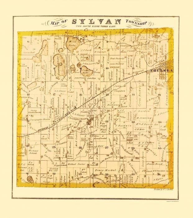 Old County Map Sylvan Michigan Landowner Everts - Michigan land ownership maps