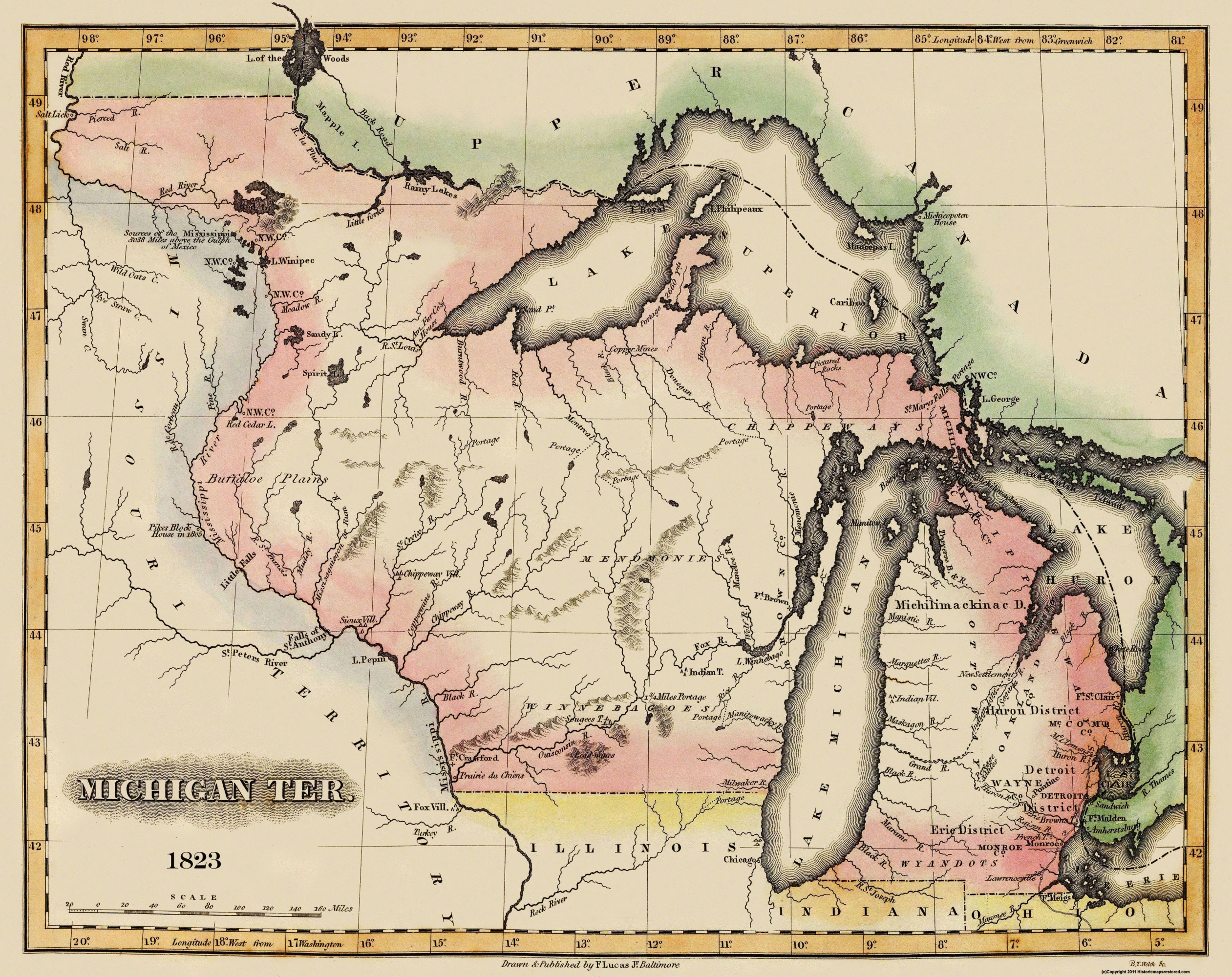 Old State Map Michigan Territory Lucas 1823