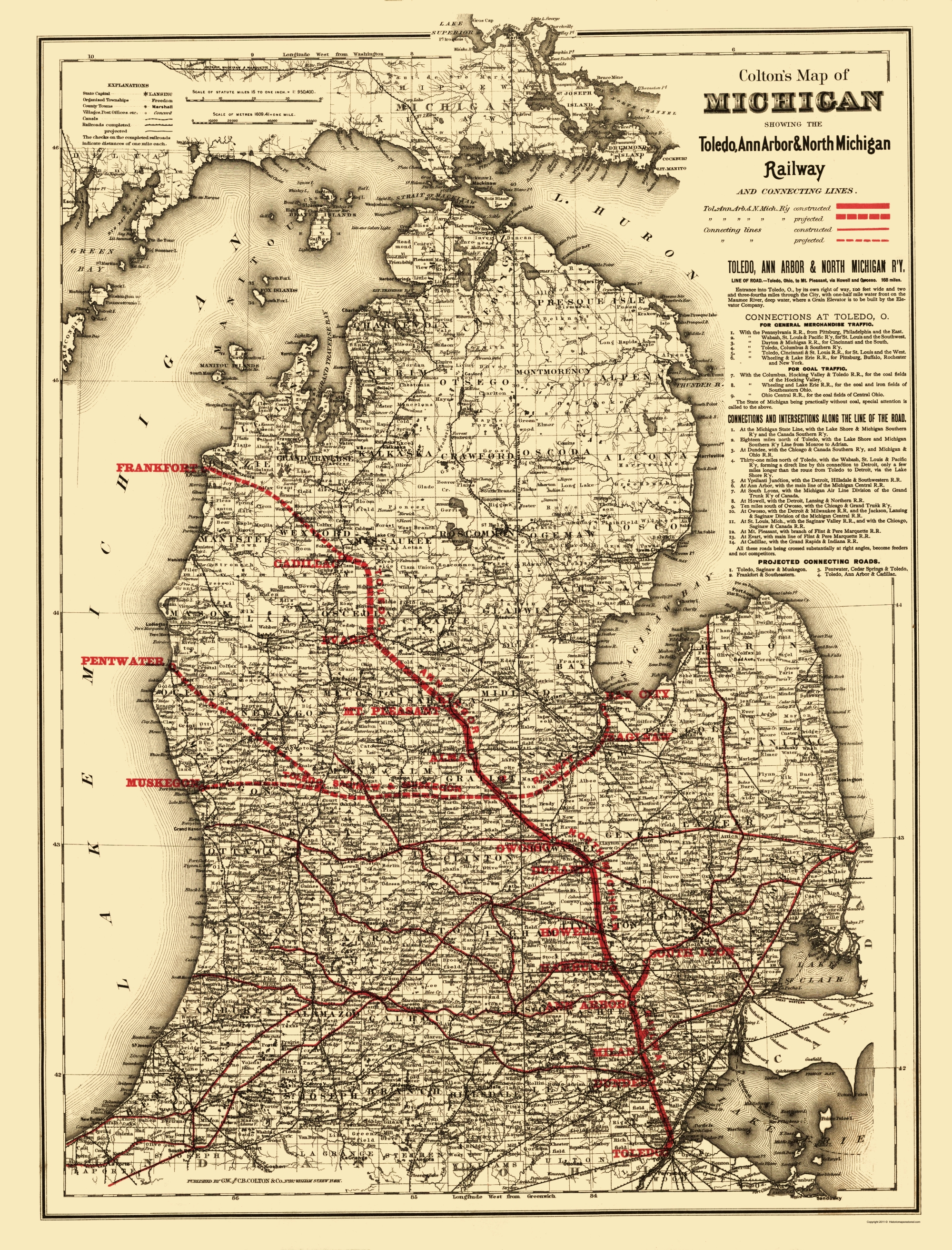 Railroad Map Toledo Ann Arbor And North Michigan 1886