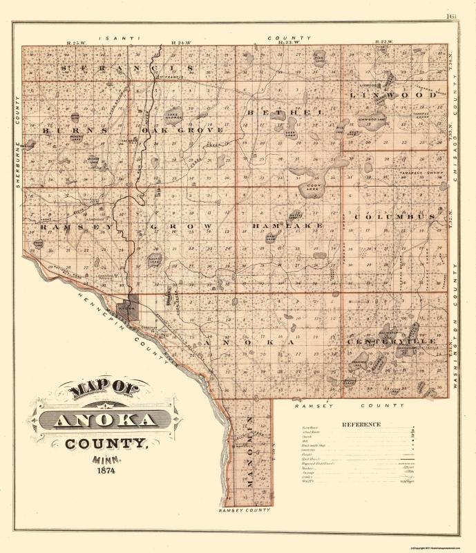 Old County Map - Anoka Minnesota Landowner - 1874 - 23 x 26.69 on ind map, shakopee map, eagan map, tresure map, london map, plymouth map, wisconsin map, mille lacs lake map, mankato map, hastings map, bloomington map, edina map, blaine mn map, minnesota map, mn highway map, moorhead map, michigan map, texas map, minneapolis map, mich map,