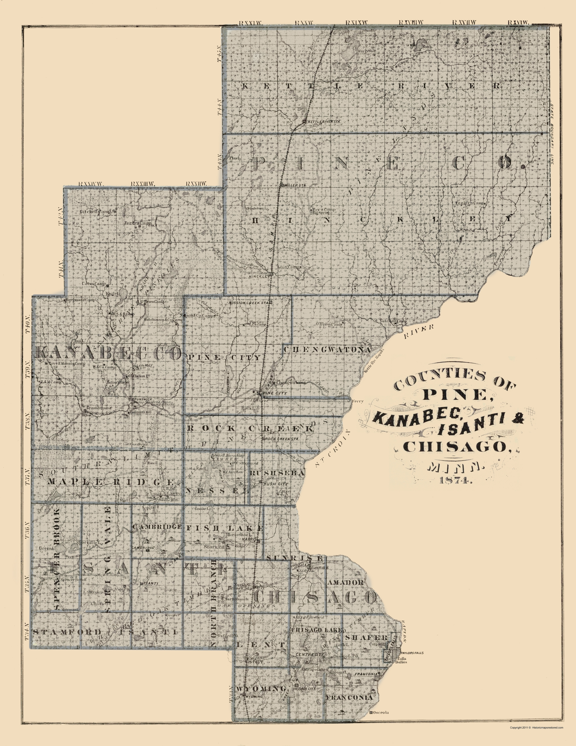 Old County Map - Kanabec, Isanti, Chisago Minnesota 1874 on