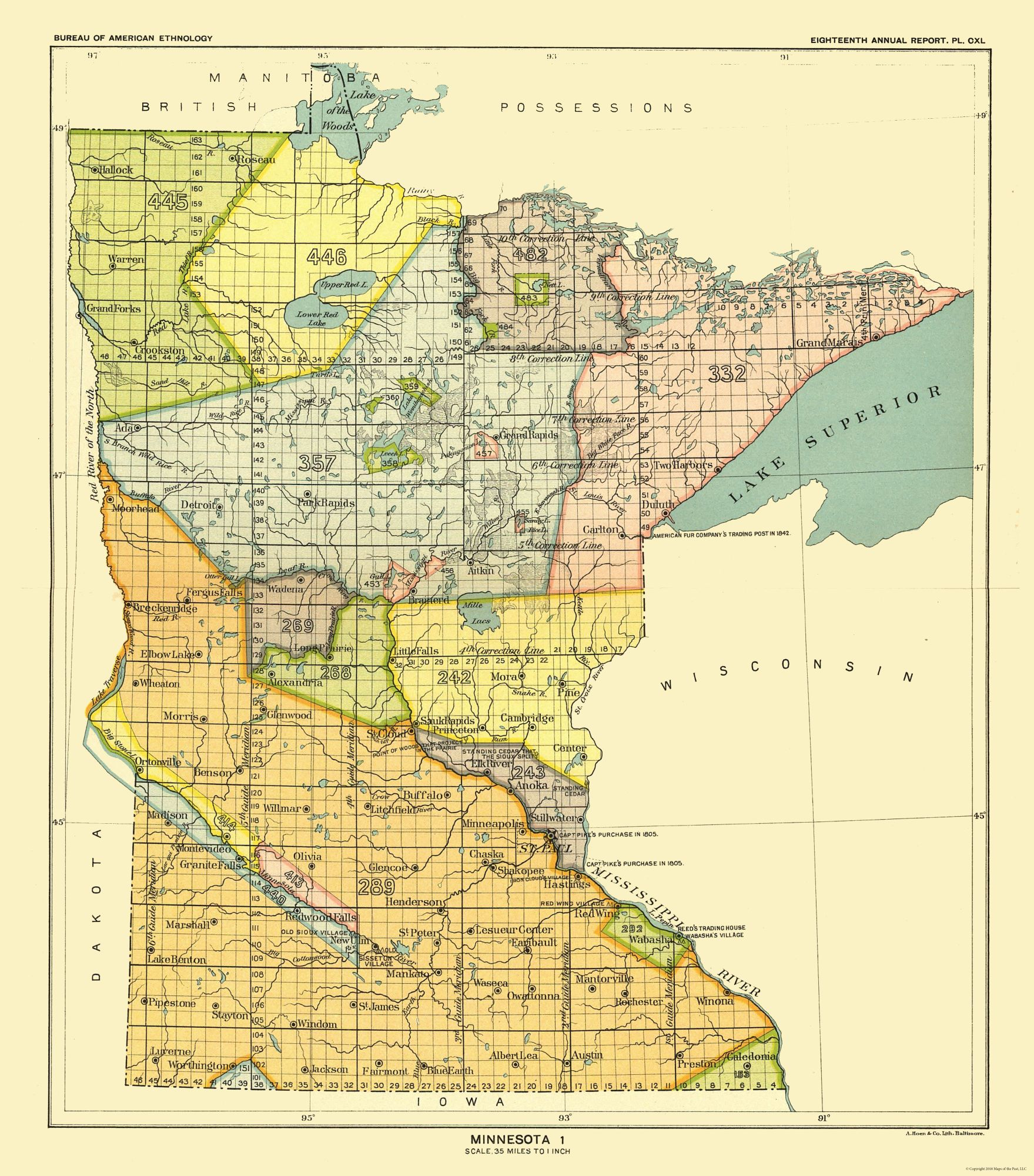 Old State Map - Minnesota - Hoen 1896 - 23 x 26.15