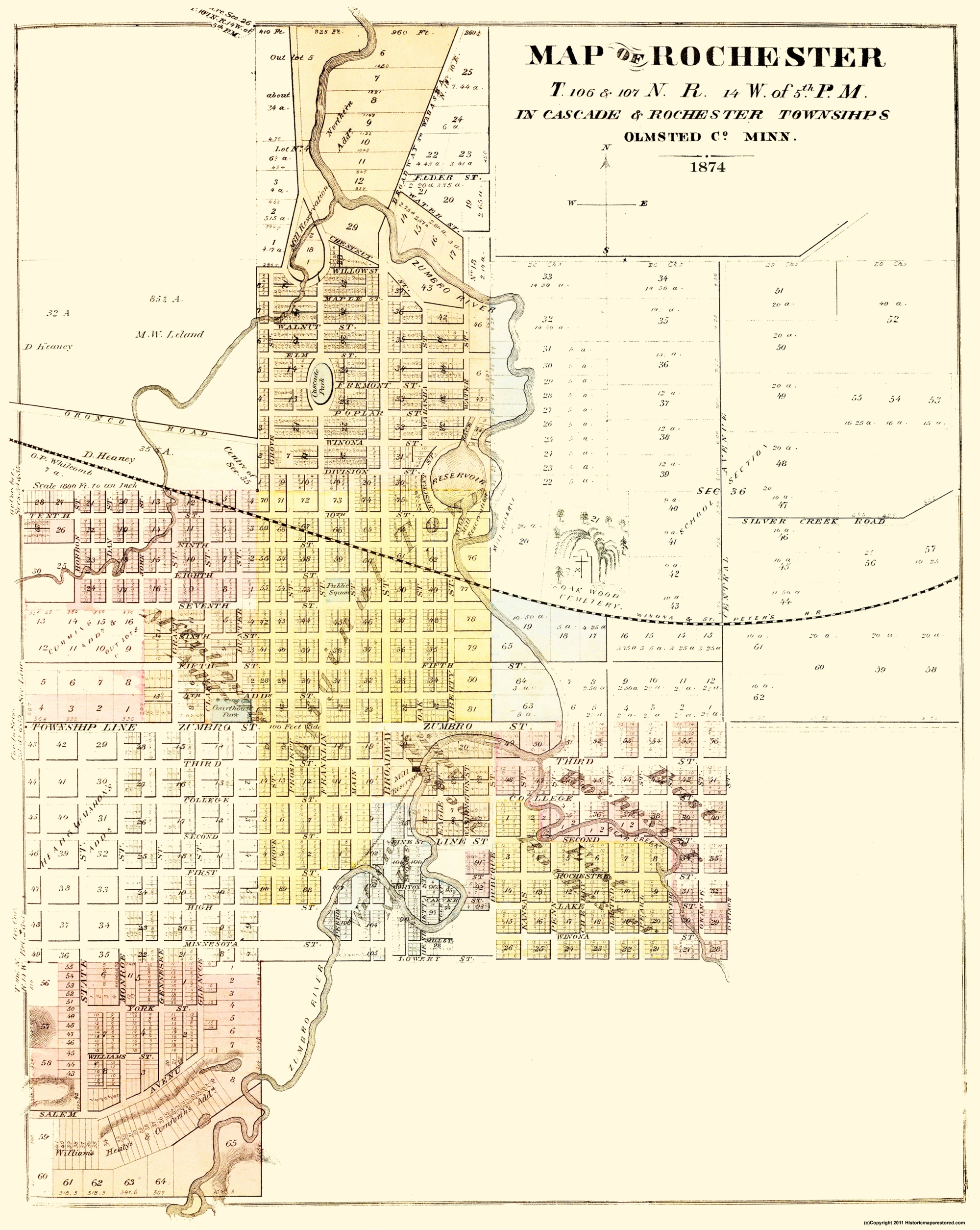 Old City Map Rochester Minnesota 1874