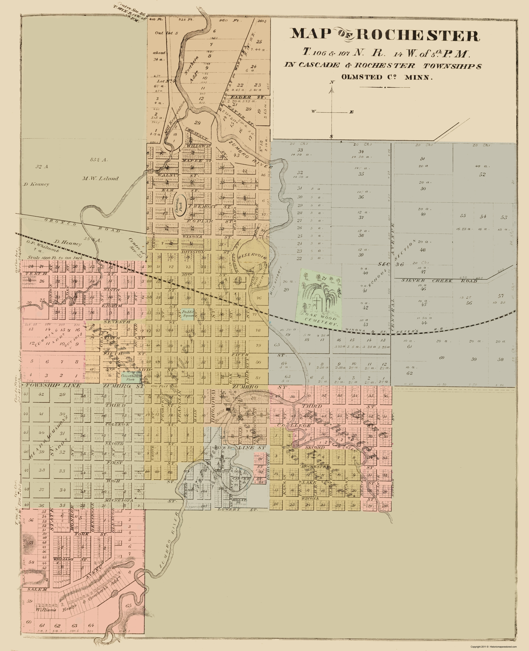 Old City Map Rochester Minnesota Andreas 1874